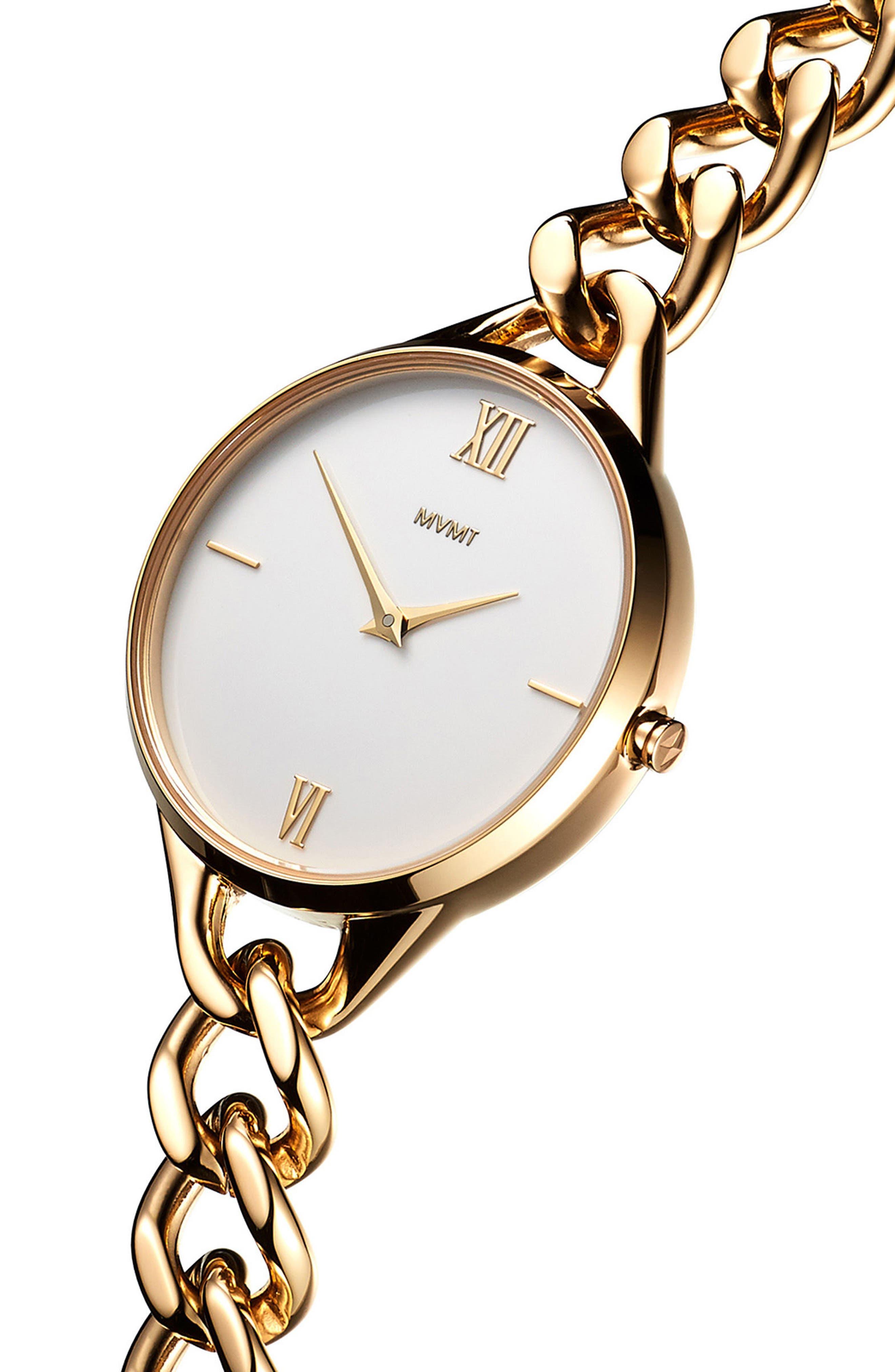 Gala Chain Bracelet Watch, 32mm,                             Alternate thumbnail 3, color,                             GOLD/ WHITE/ GOLD