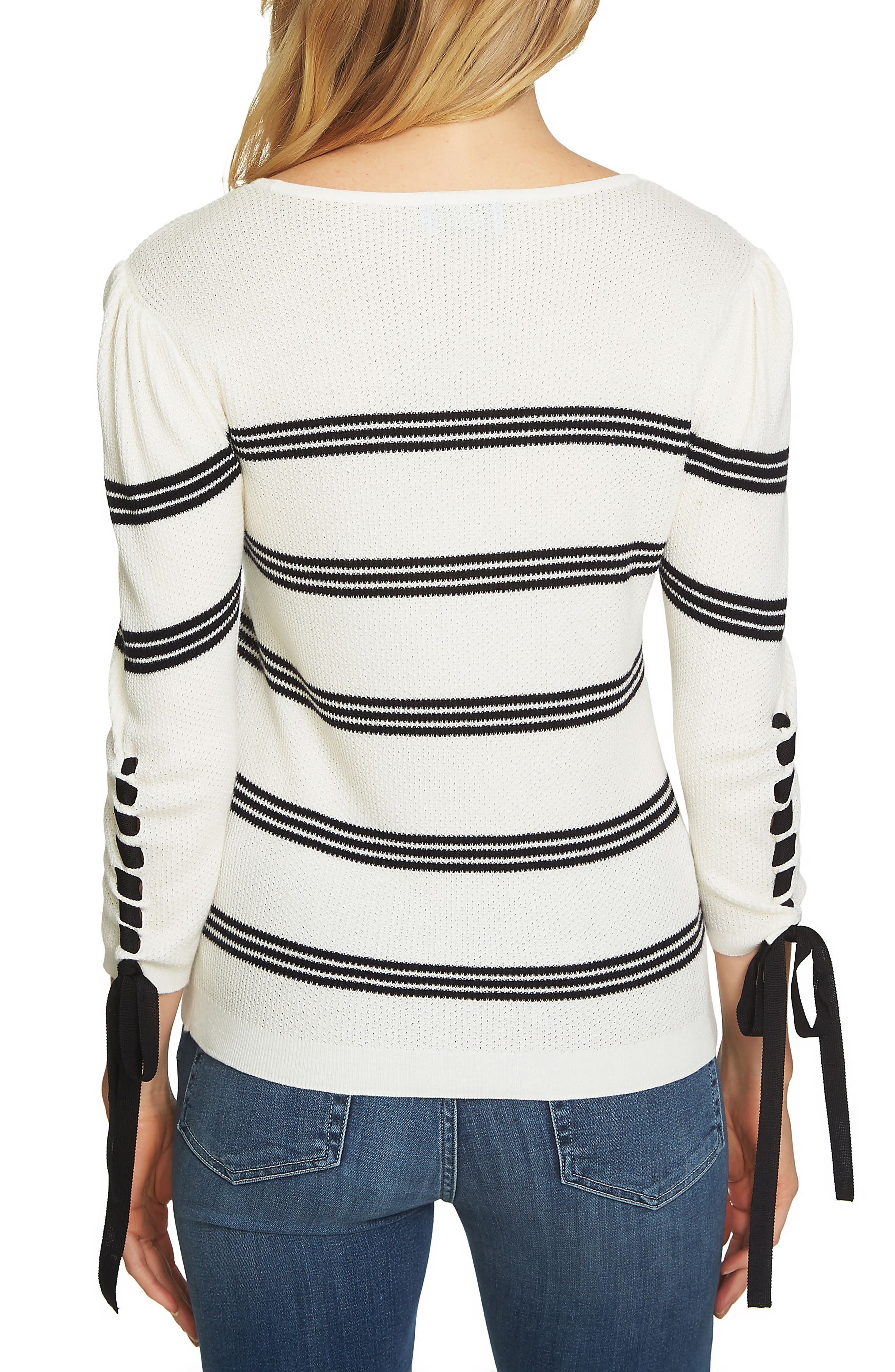 Lace-Up Sleeve Stripe Sweater,                             Alternate thumbnail 2, color,                             908