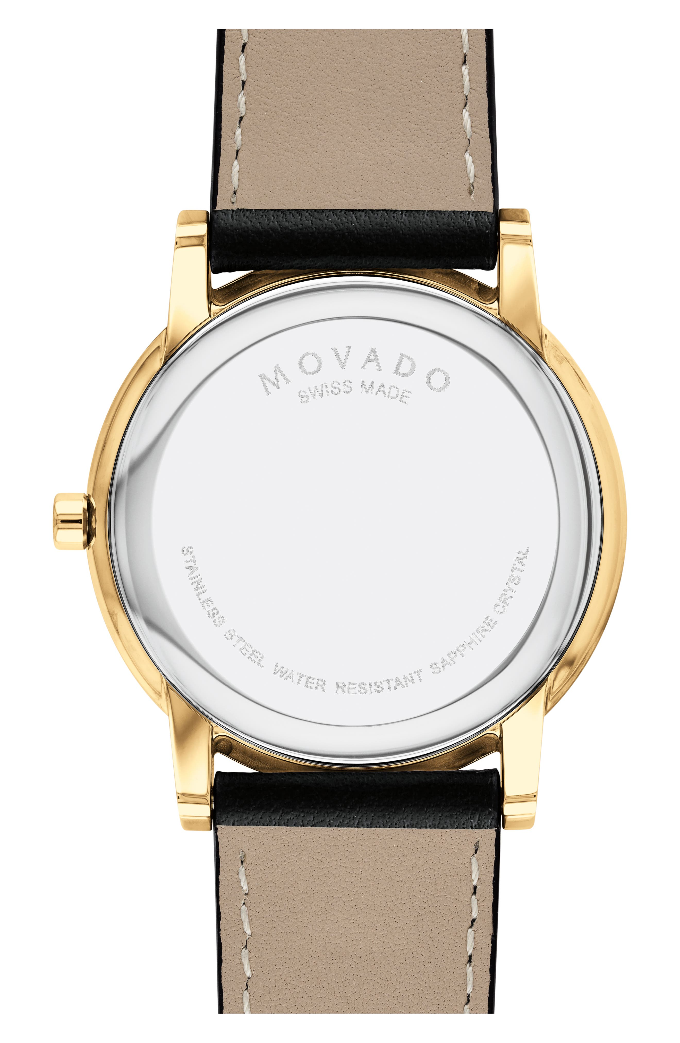 Leather Strap Watch, 40mm,                             Alternate thumbnail 2, color,                             BLACK/ GOLD