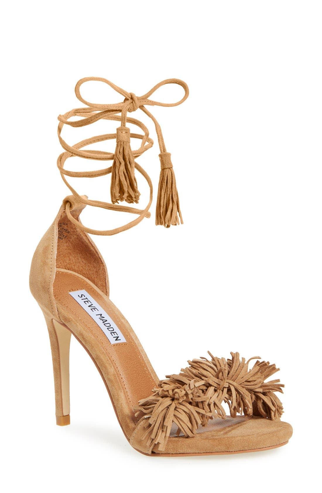 STEVE MADDEN 'Sassey' Fringe Sandal, Main, color, 250