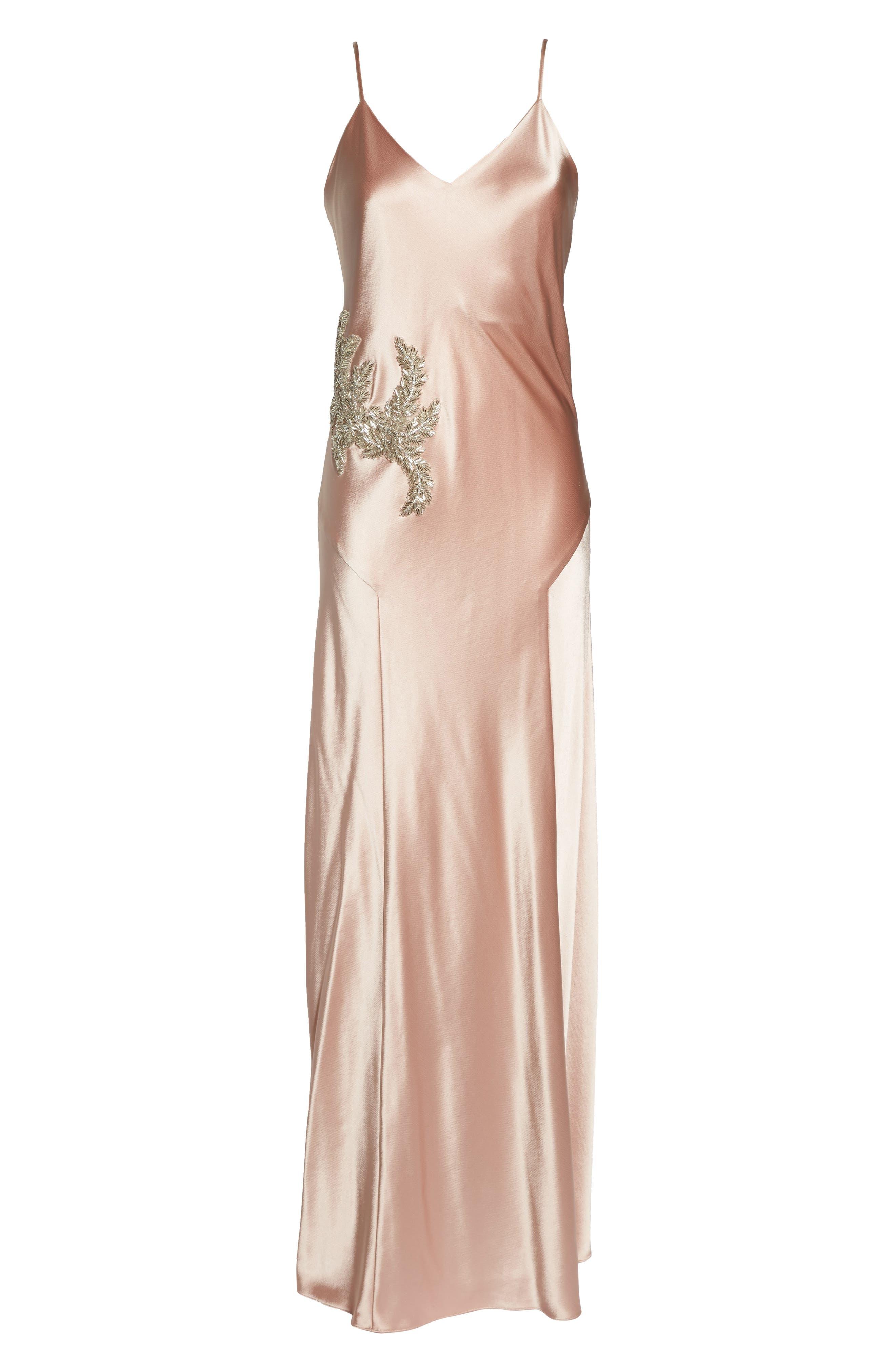 Carmen Embellished Satin Slip Gown,                             Alternate thumbnail 6, color,                             691