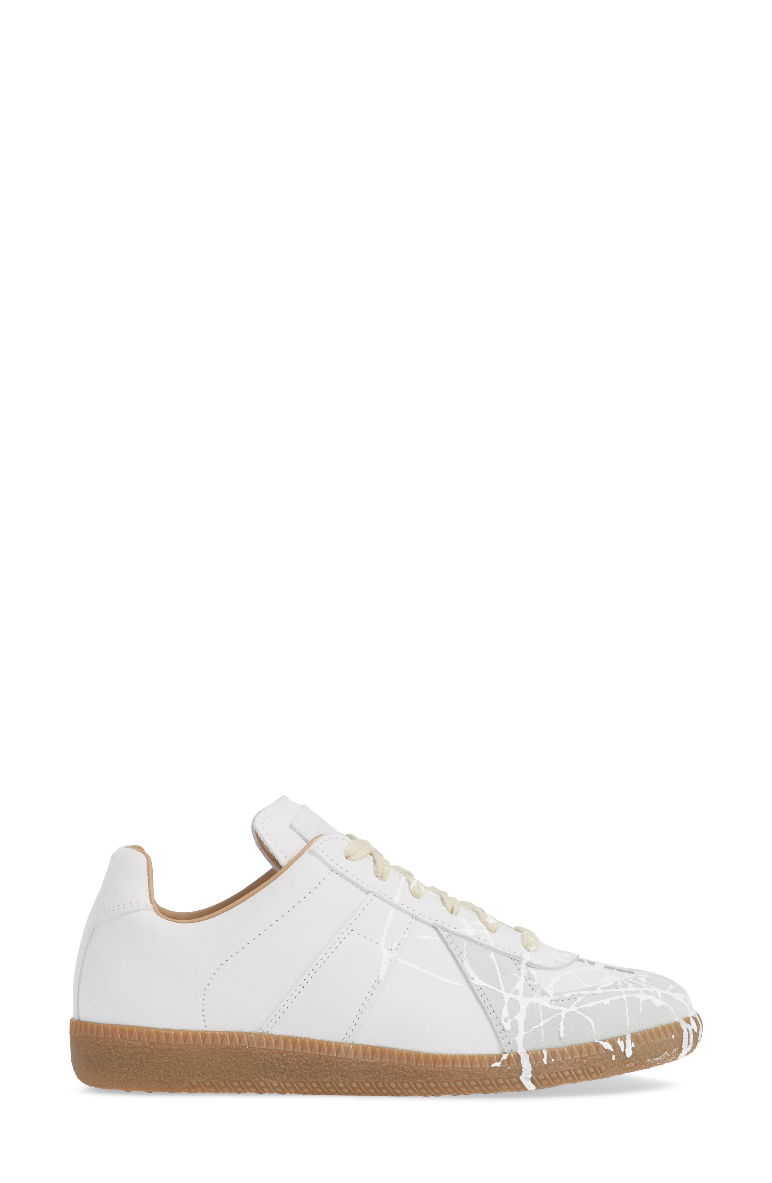 Replica Paint Splatter Sneaker,                             Alternate thumbnail 3, color,                             WHITE