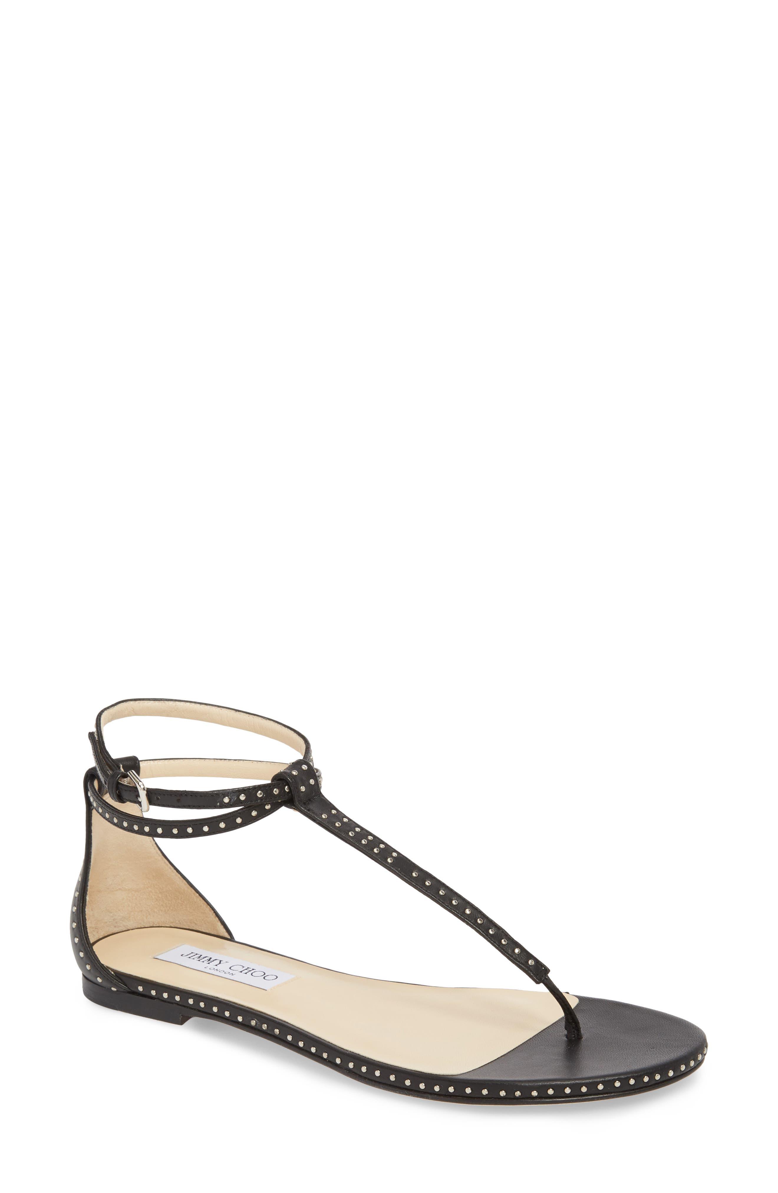 Afia Studded Flat Sandal,                         Main,                         color, BLACK