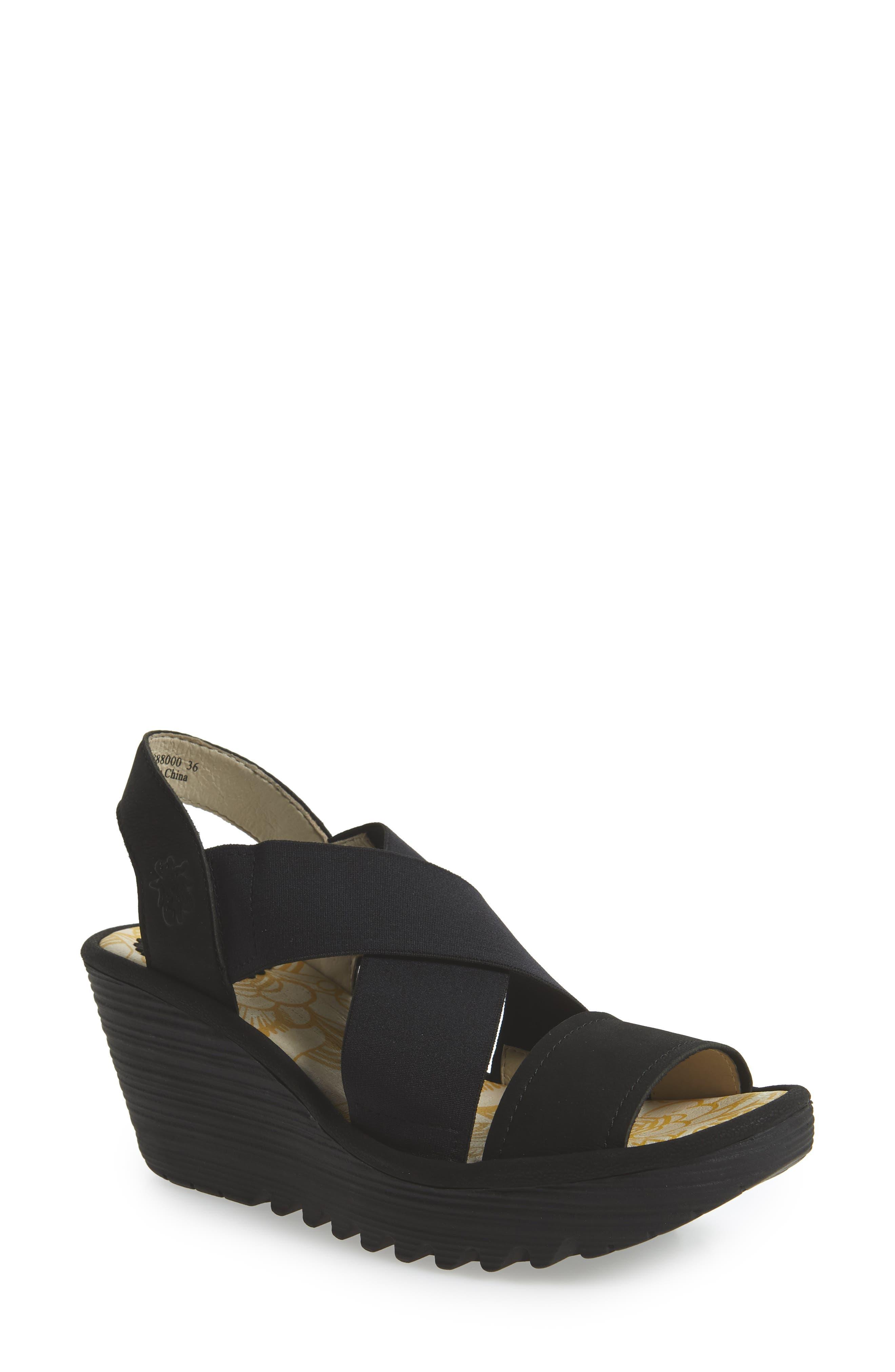 Yaji Cross Wedge Sandal,                         Main,                         color, BLACK LEATHER