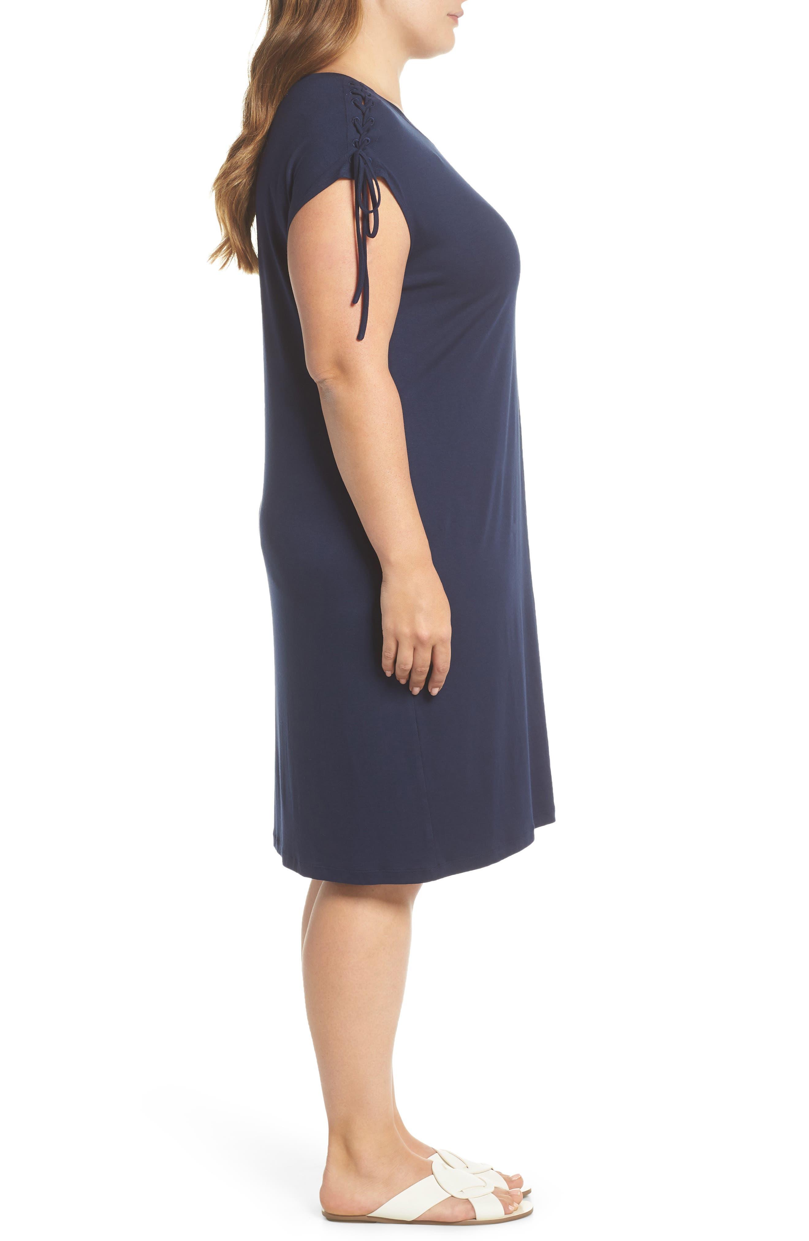 VINCE CAMUTO,                             Lace-Up Shoulder T-Shirt Dress,                             Alternate thumbnail 4, color,                             461
