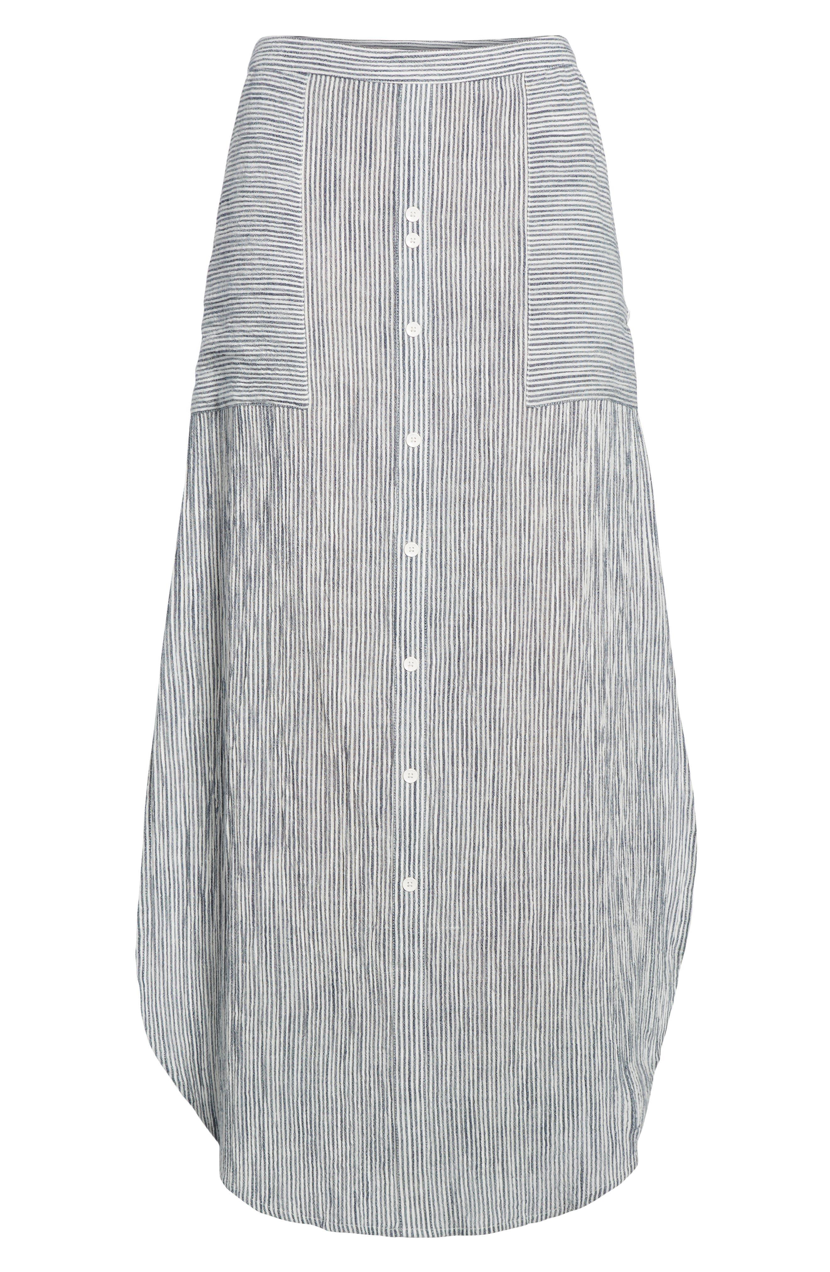 Sunset Islands Pinstripe Maxi Skirt,                             Alternate thumbnail 6, color,                             101