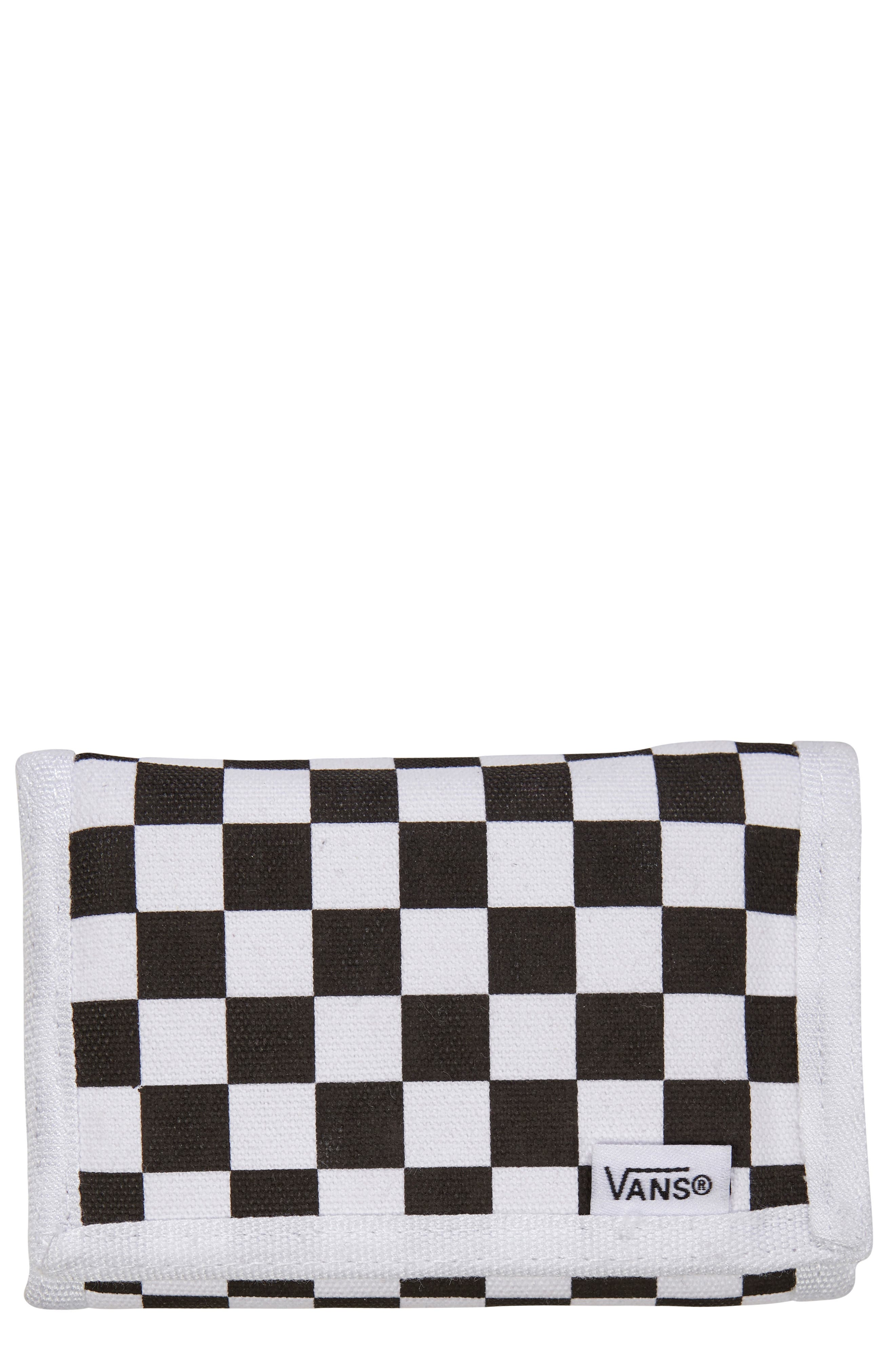 VANS 'Slipped' Checkered Wallet, Main, color, 001