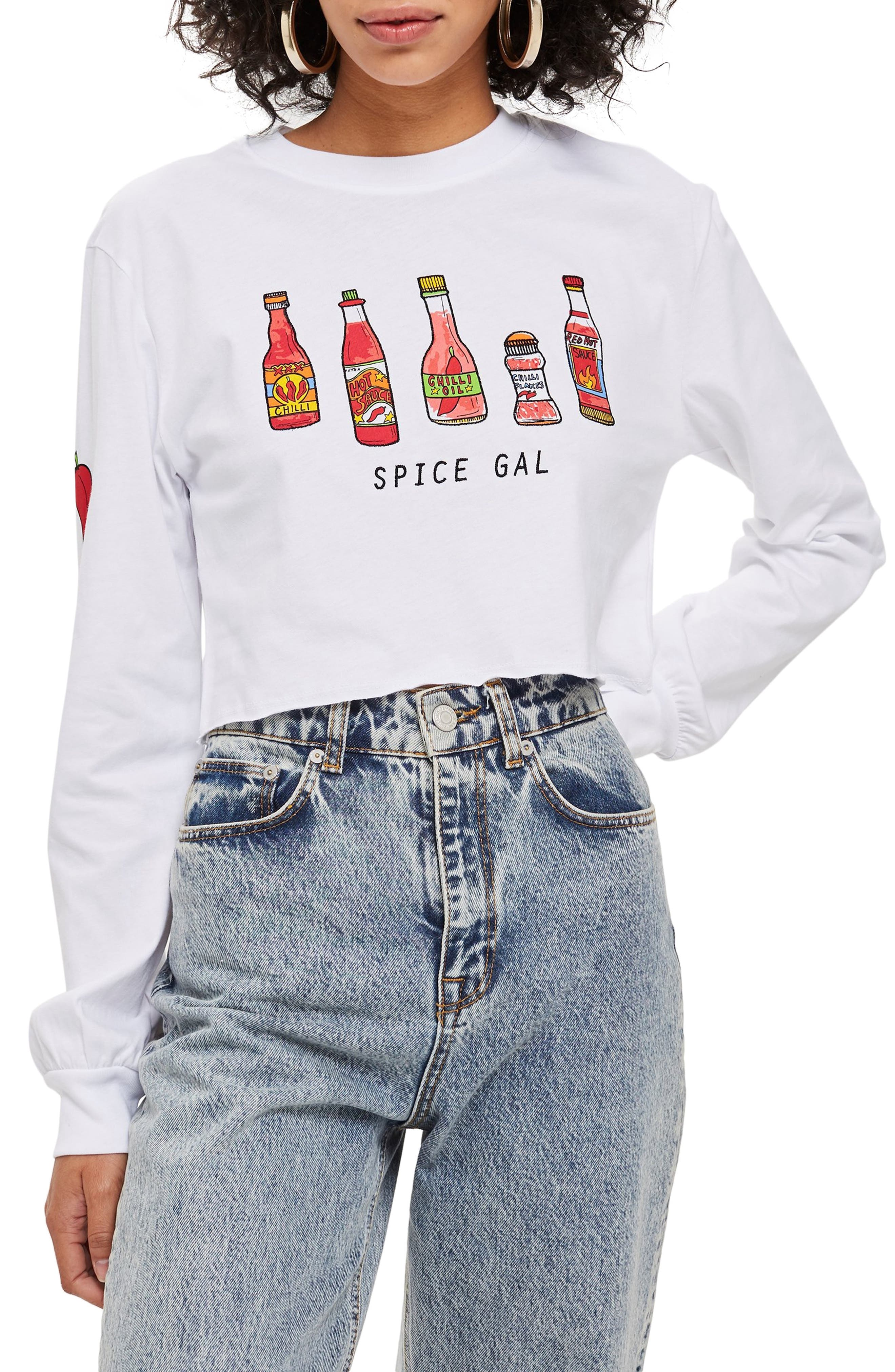by Tee & Cake Spice Gal Crop Tee,                             Main thumbnail 1, color,                             WHITE MULTI