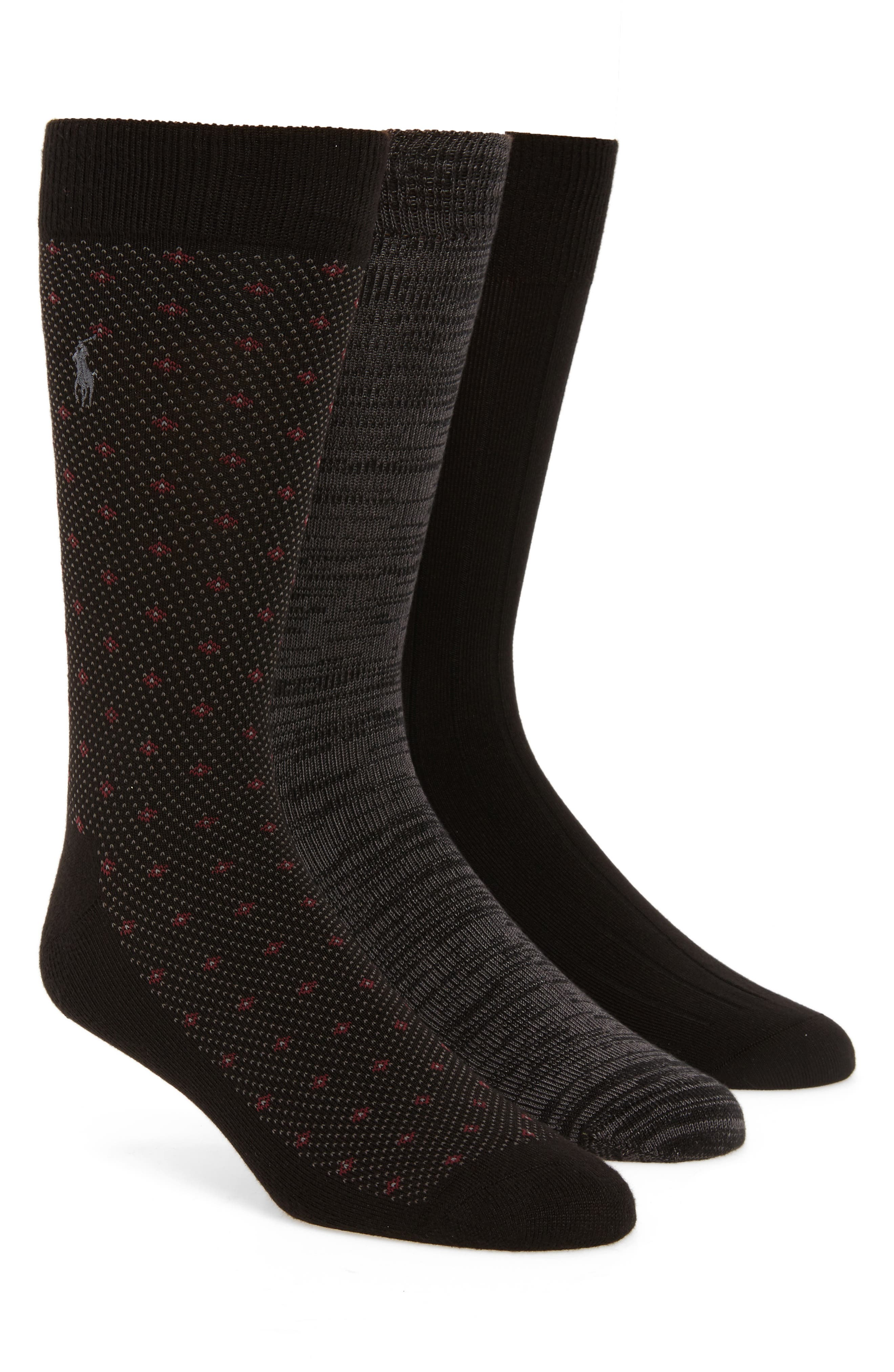 Supersoft Diamond Dot Assorted 3-Pack Socks,                             Main thumbnail 1, color,                             BLACK