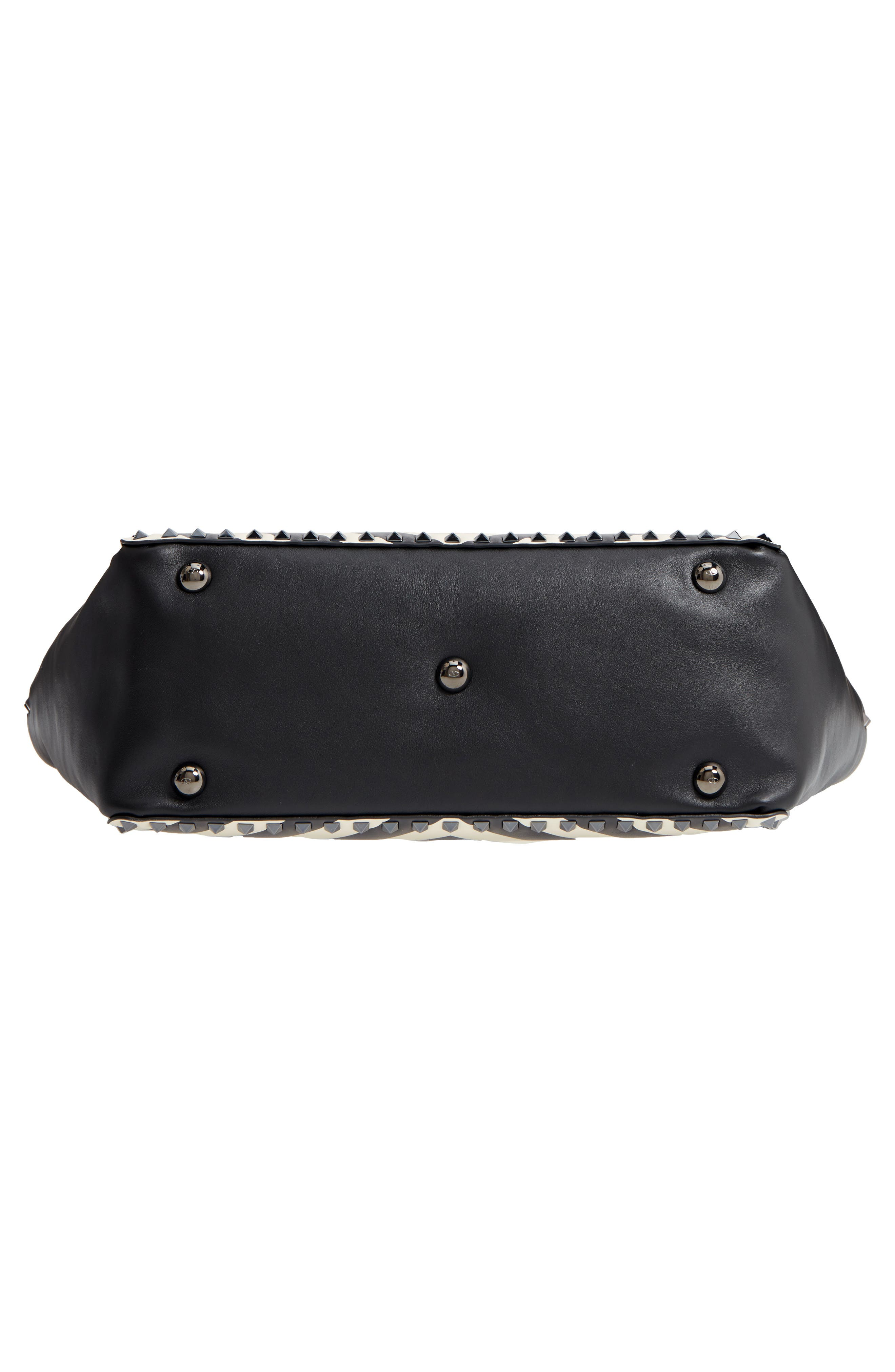Rockstud Chevron Stripe Leather Tote,                             Alternate thumbnail 6, color,                             BLACK/ IVORY