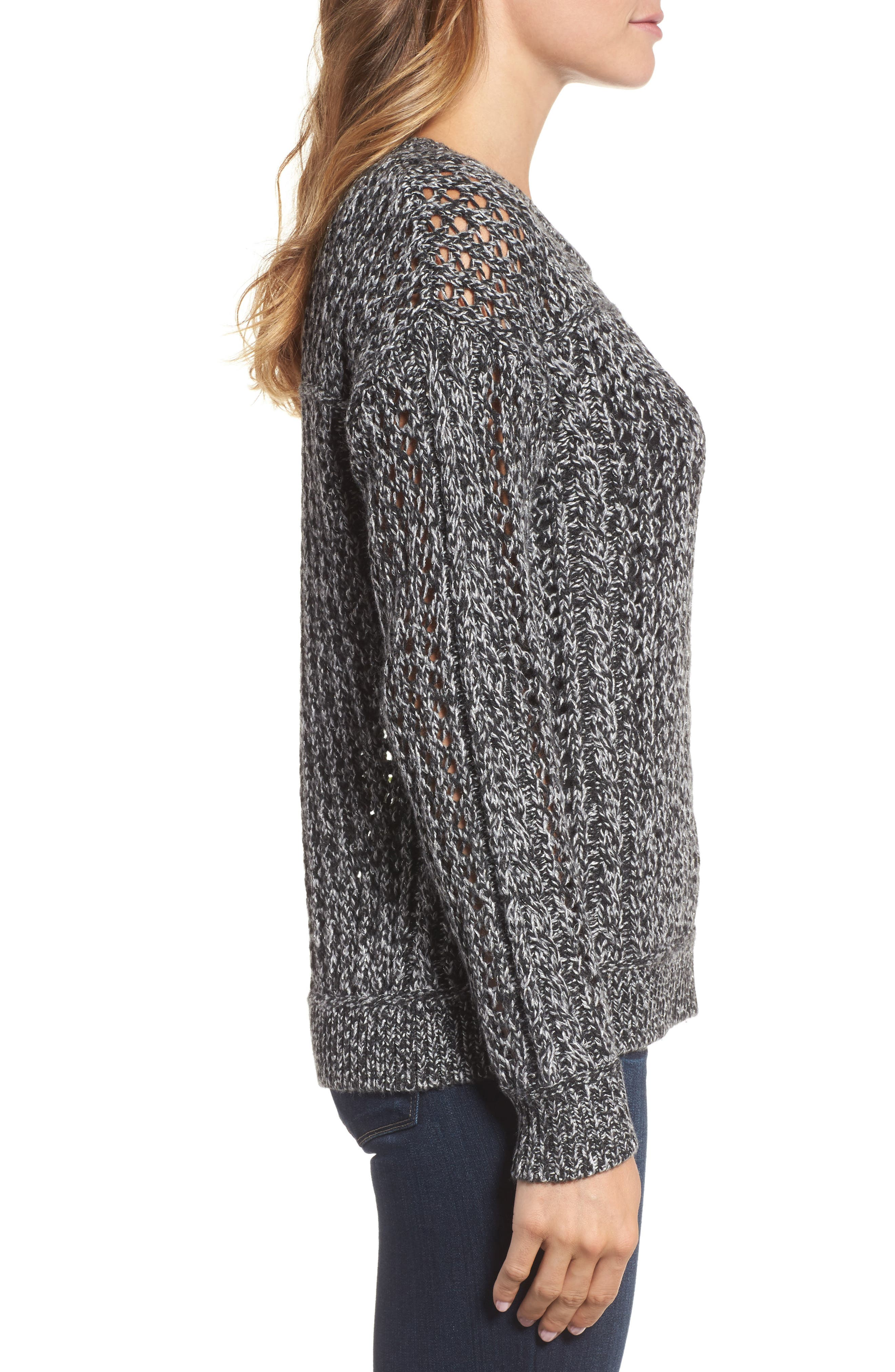 Cascade Cable Sparkle Crew Sweater,                             Alternate thumbnail 3, color,