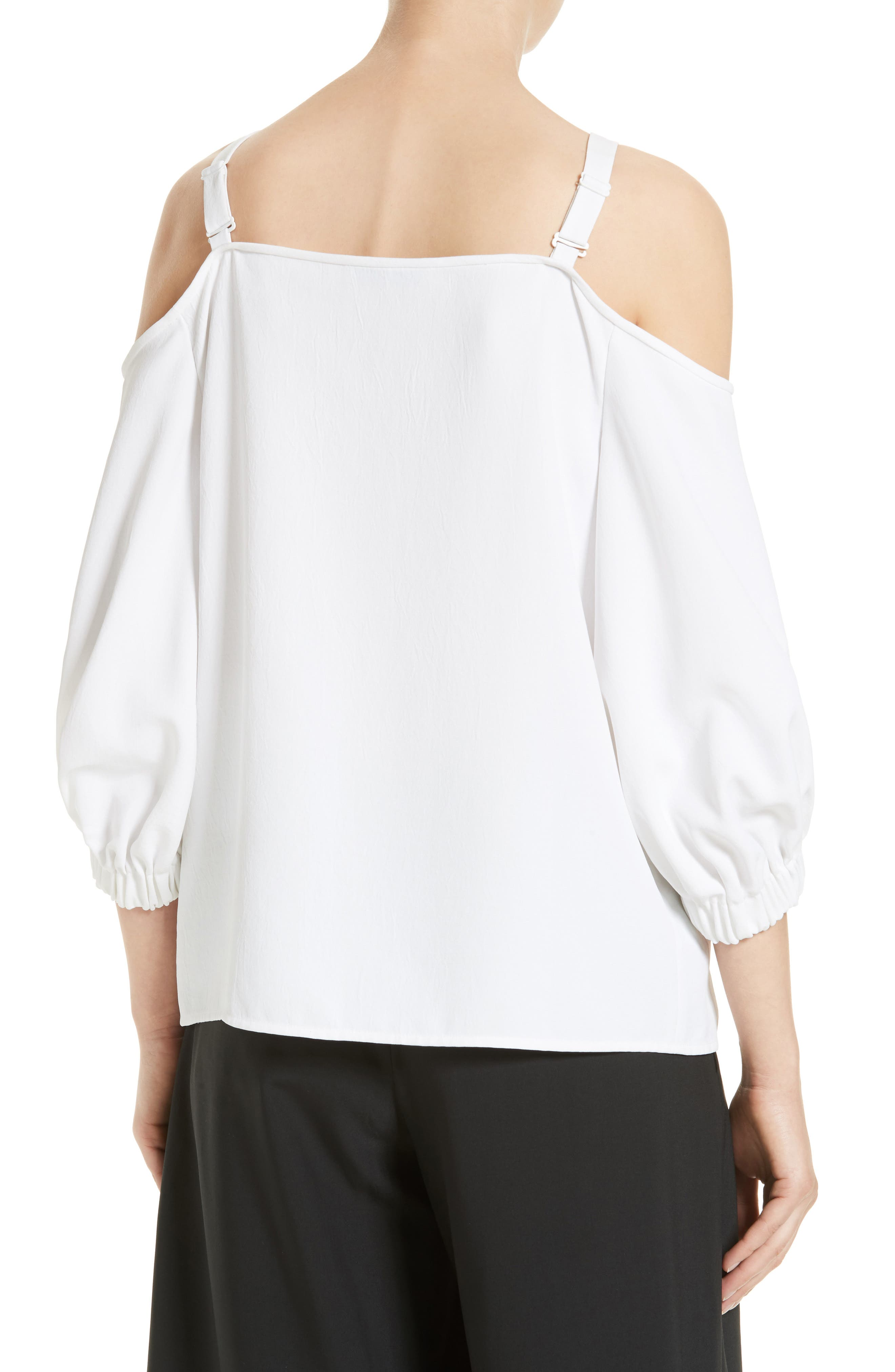 Drape Twill Off the Shoulder Top,                             Alternate thumbnail 2, color,                             100