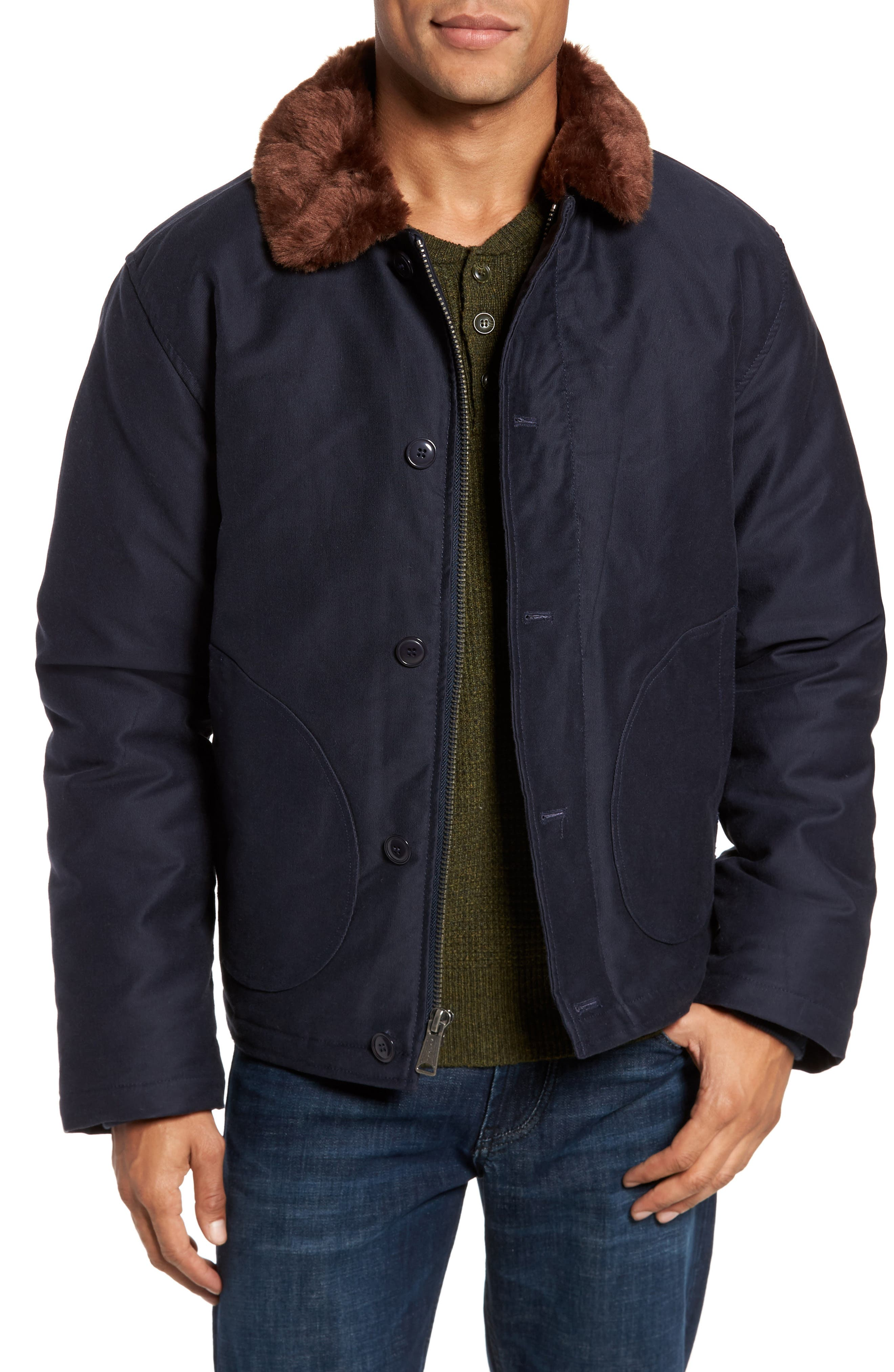 Faux Fur Collar Water-Repellent Corduroy Down Jacket,                         Main,                         color, NAVY