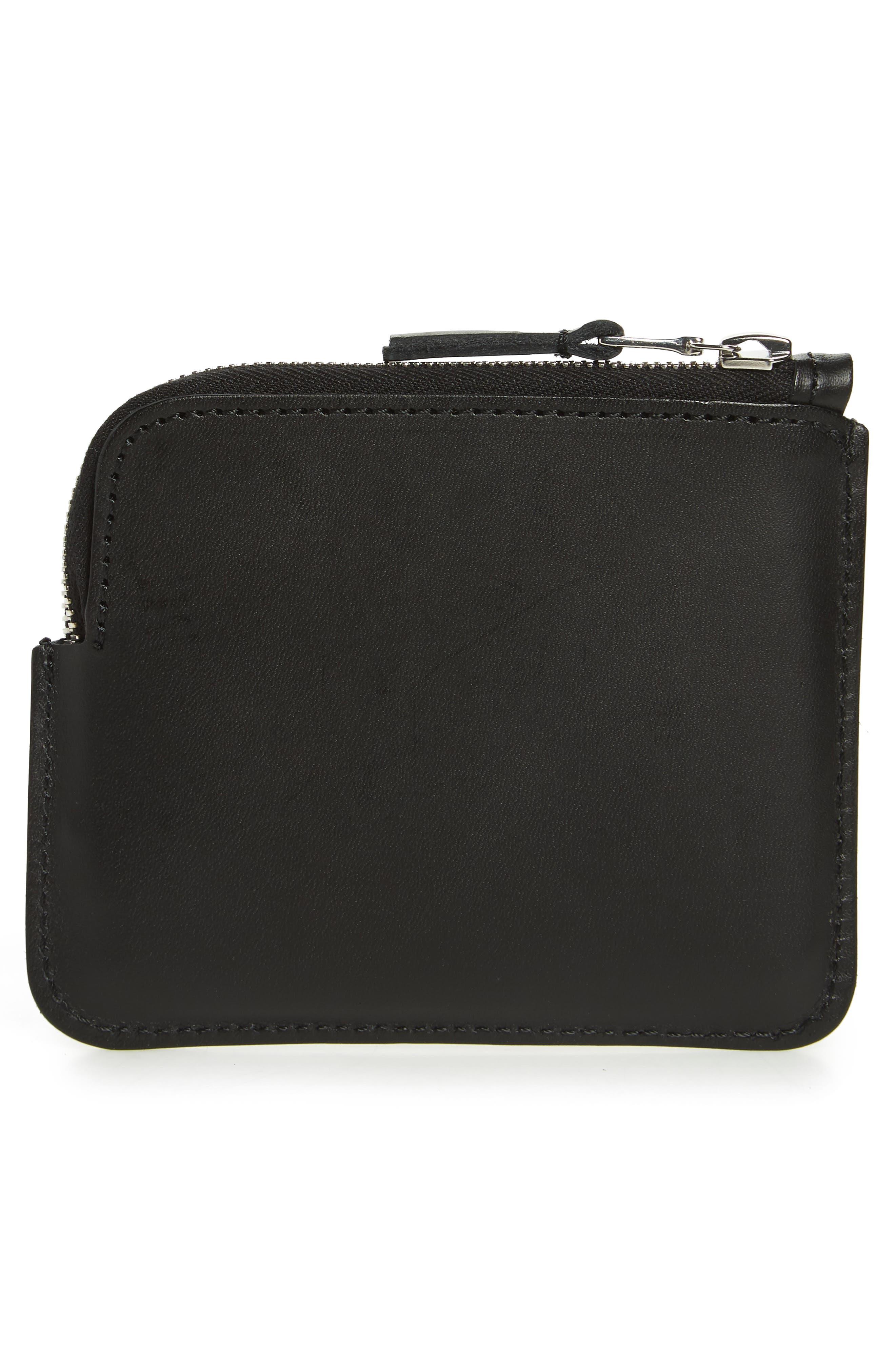 Leather Half Zip Wallet,                             Alternate thumbnail 3, color,                             BLACK