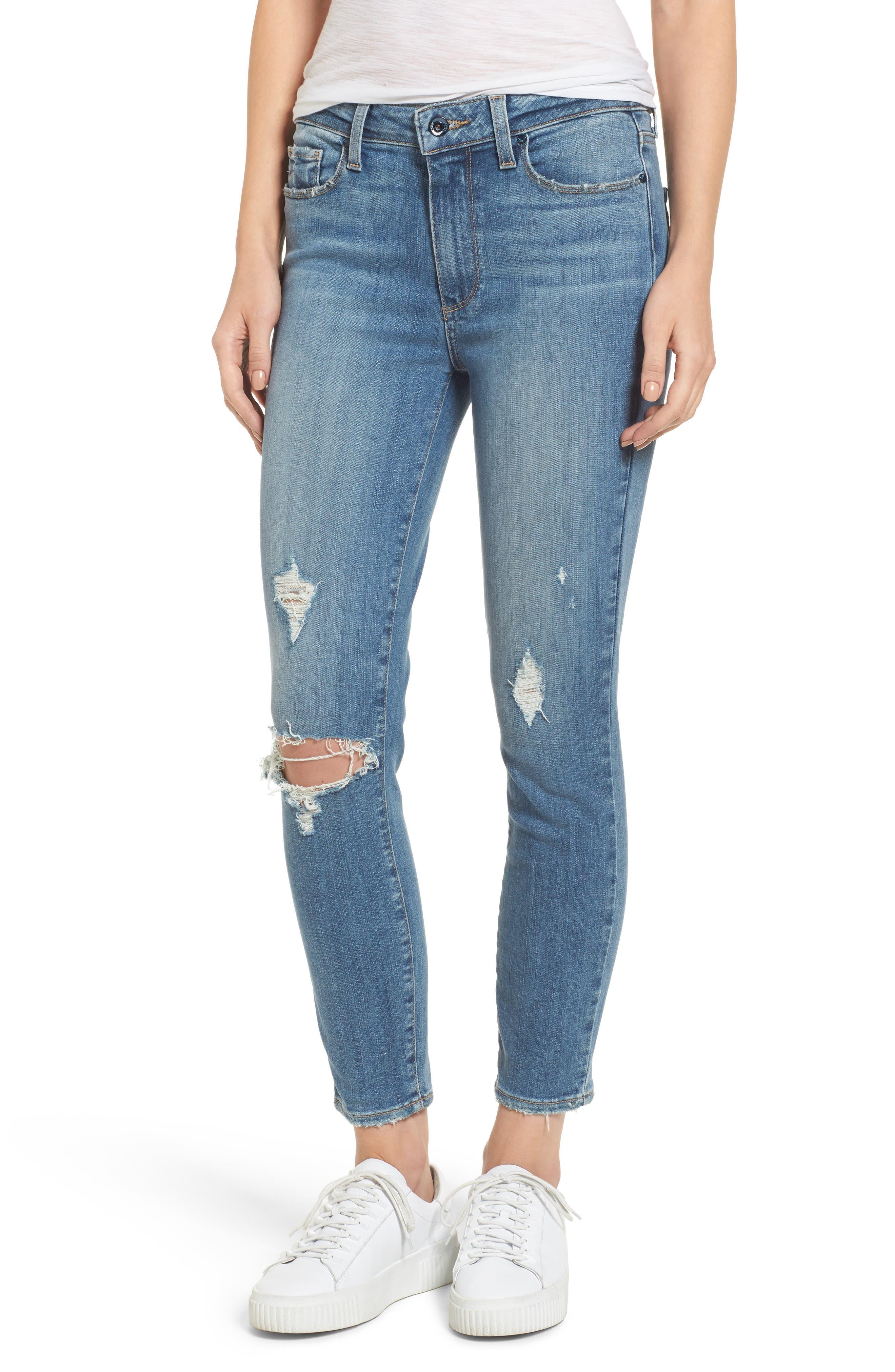 Transcend Vintage - Hoxton High Waist Crop Jeans,                             Main thumbnail 1, color,                             400