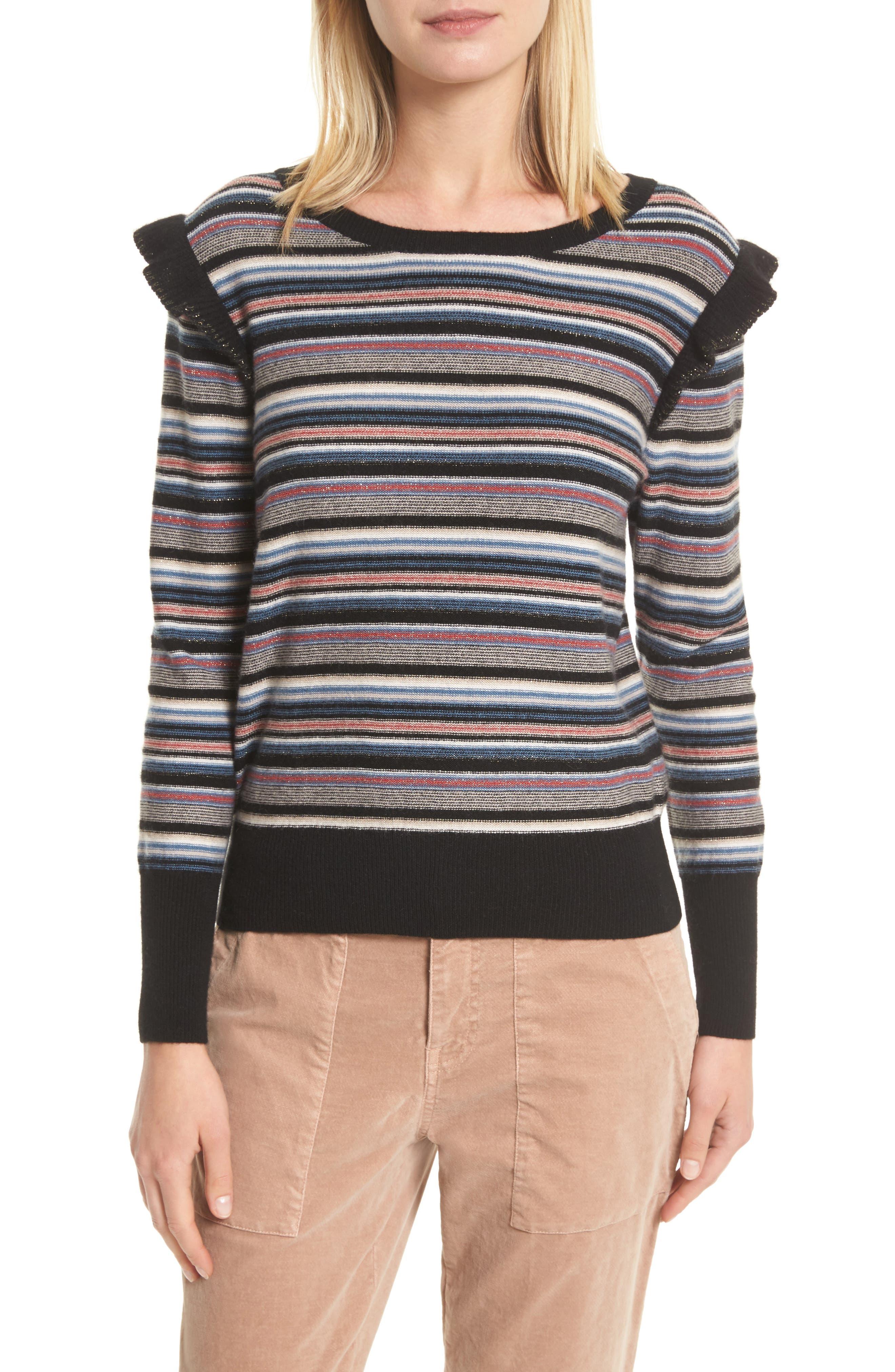 Cais C Stripe Wool & Cashmere Sweater,                             Main thumbnail 1, color,                             001