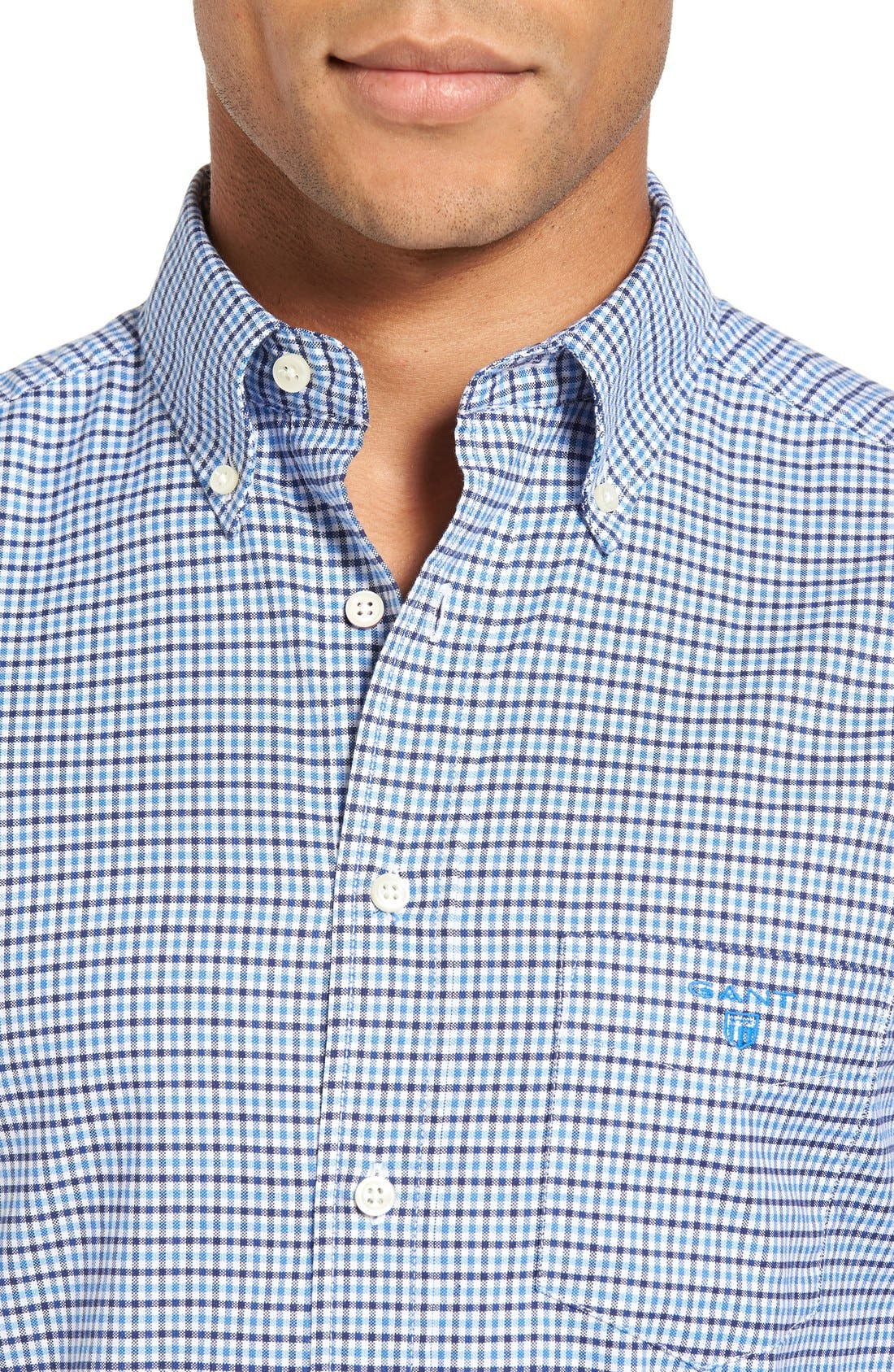Gingham Fitted Sport Shirt,                             Alternate thumbnail 5, color,