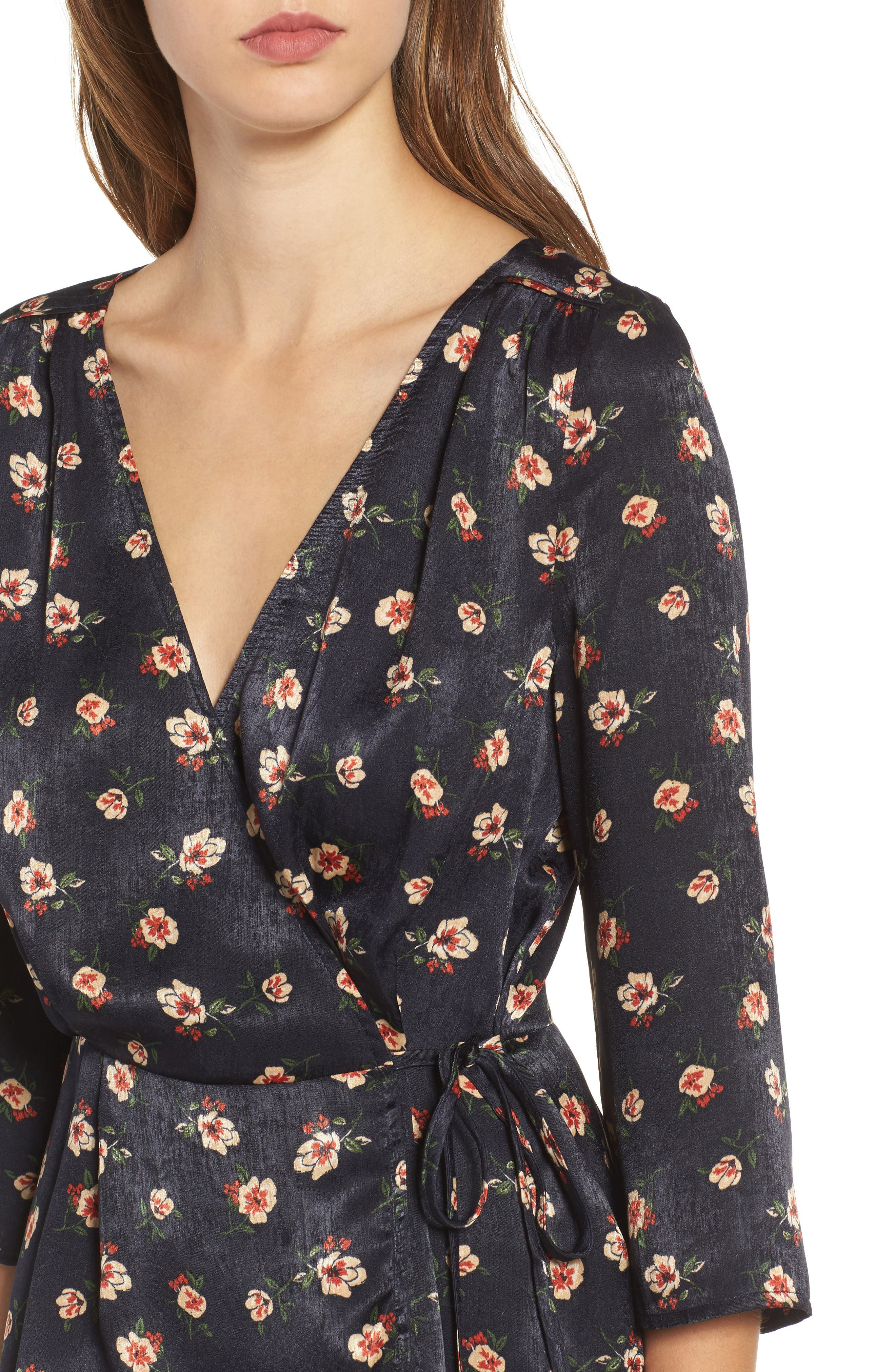 Floral Wrap Top,                             Alternate thumbnail 4, color,                             498