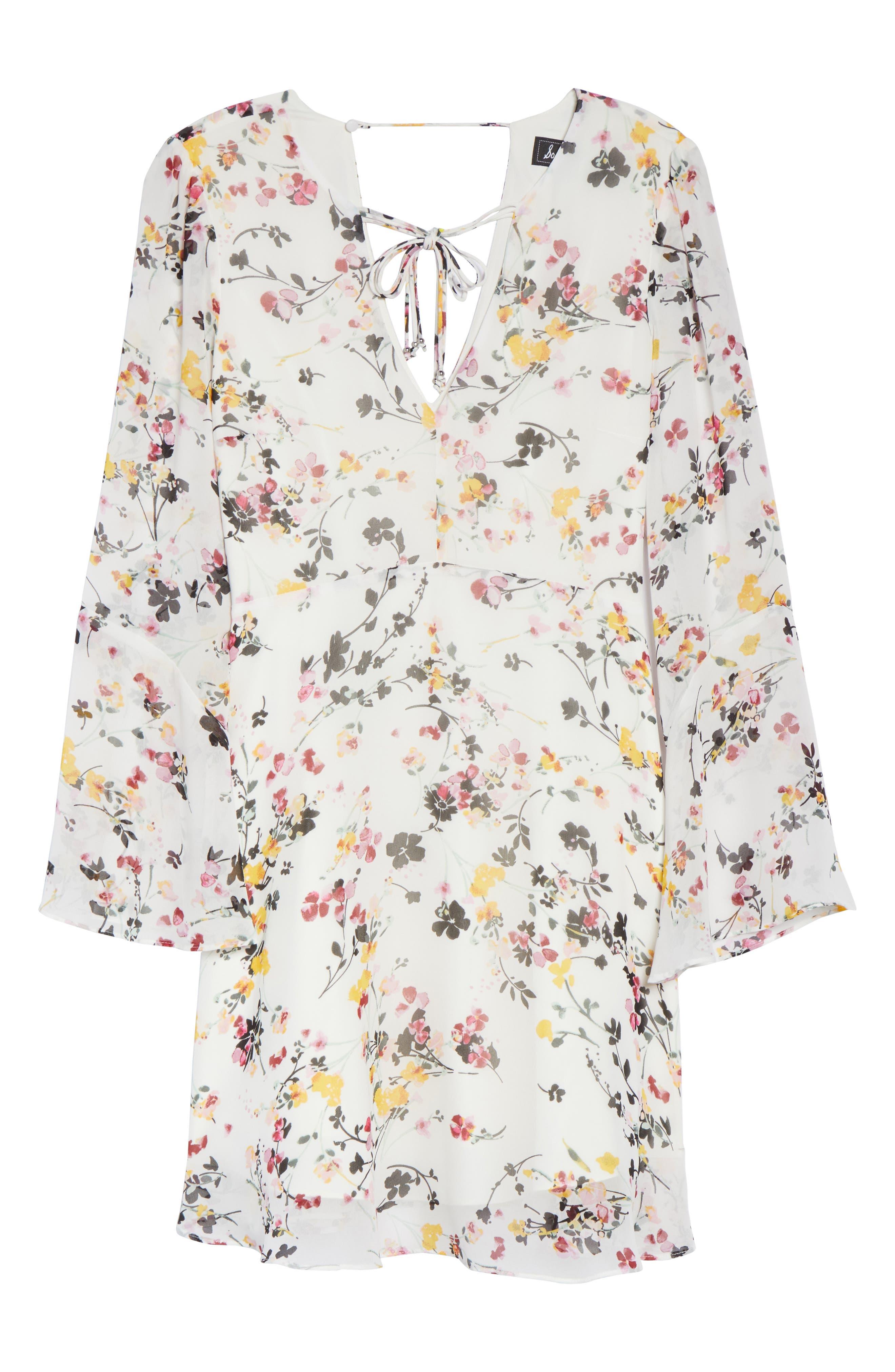 Bell Sleeve A-Line Dress,                             Alternate thumbnail 6, color,                             WHITE MULTI