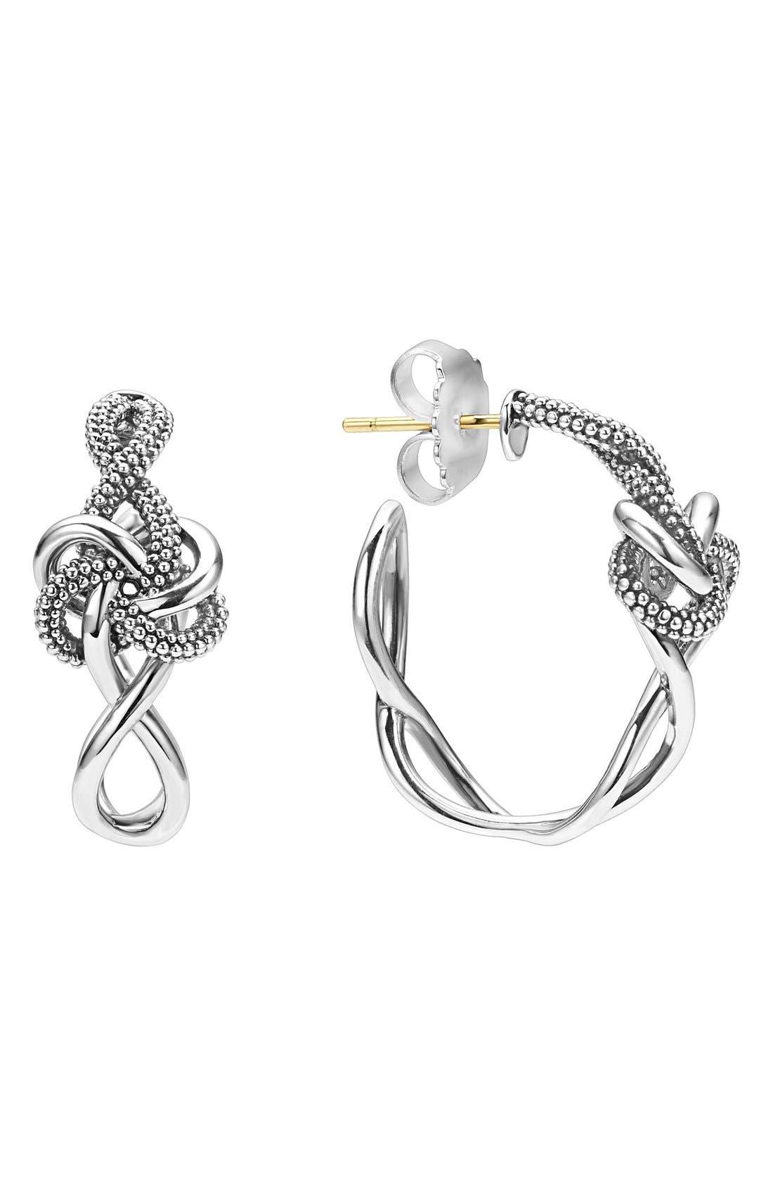 'Love Knot' Hoop Earrings,                         Main,                         color, STERLING SILVER