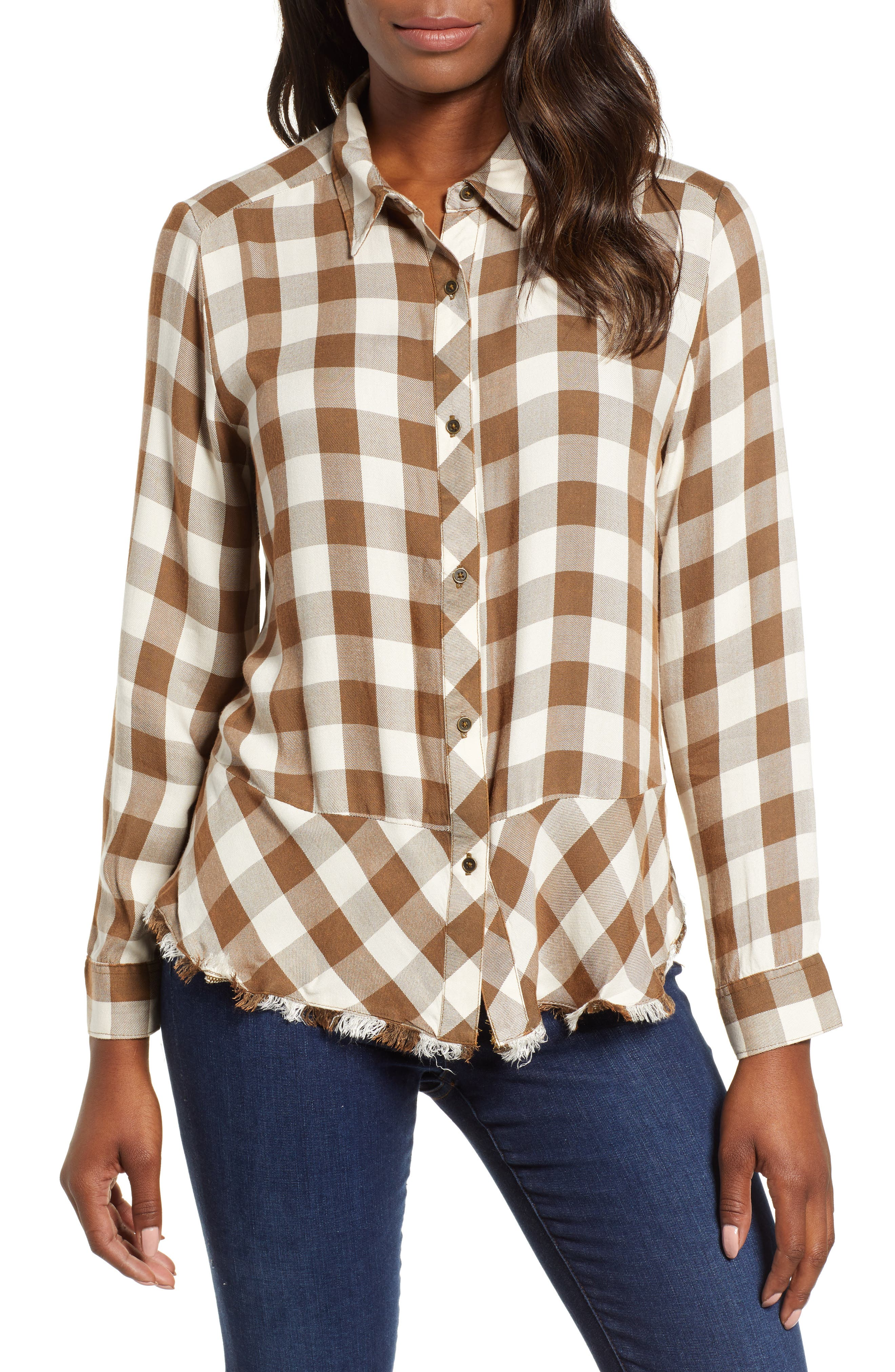 Peplum Plaid Shirt,                         Main,                         color, ASH GREEN