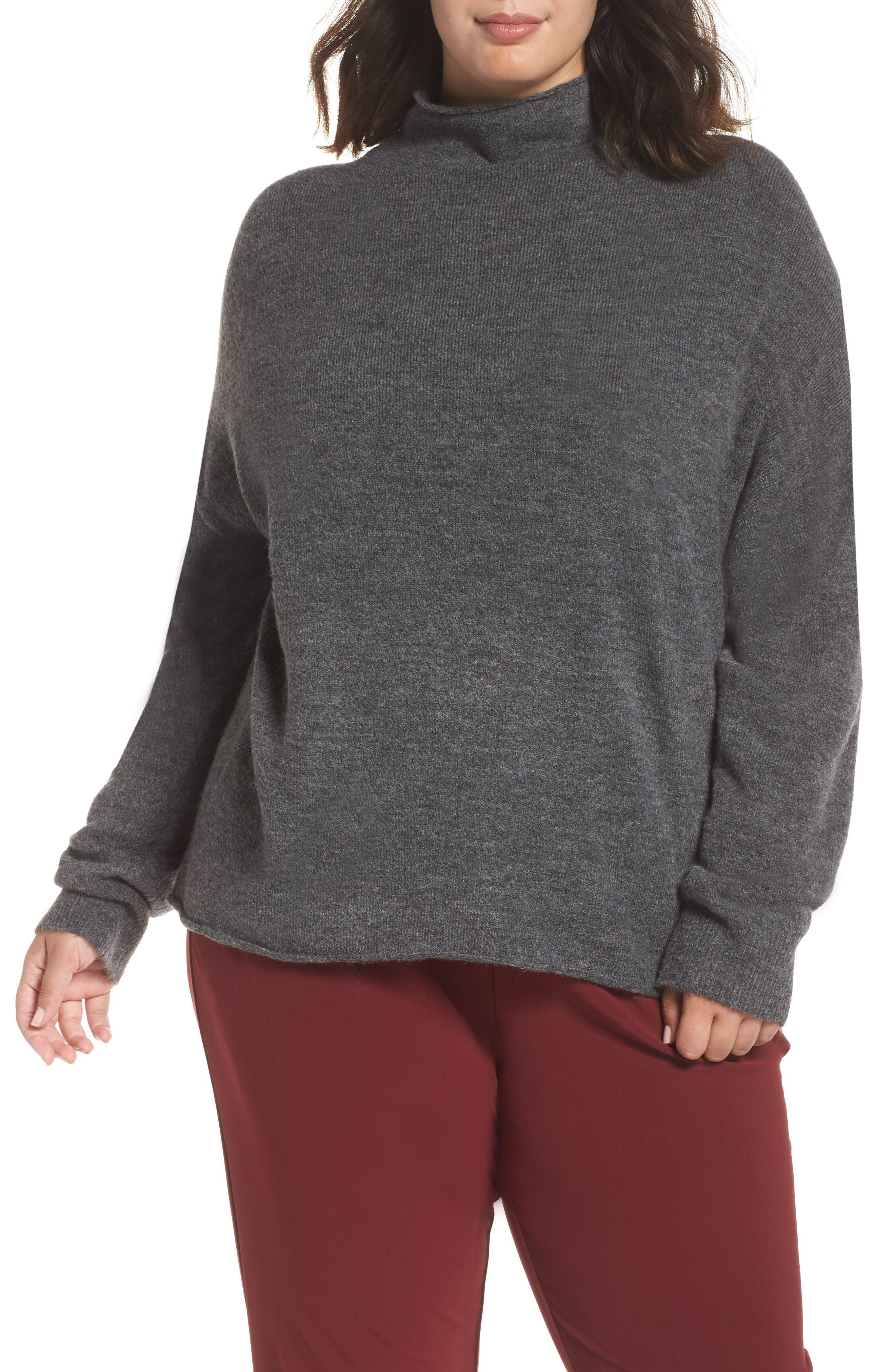 Cozy Mock Neck Sweater,                             Alternate thumbnail 2, color,                             GREY MEDIUM CHARCOAL HEATHER