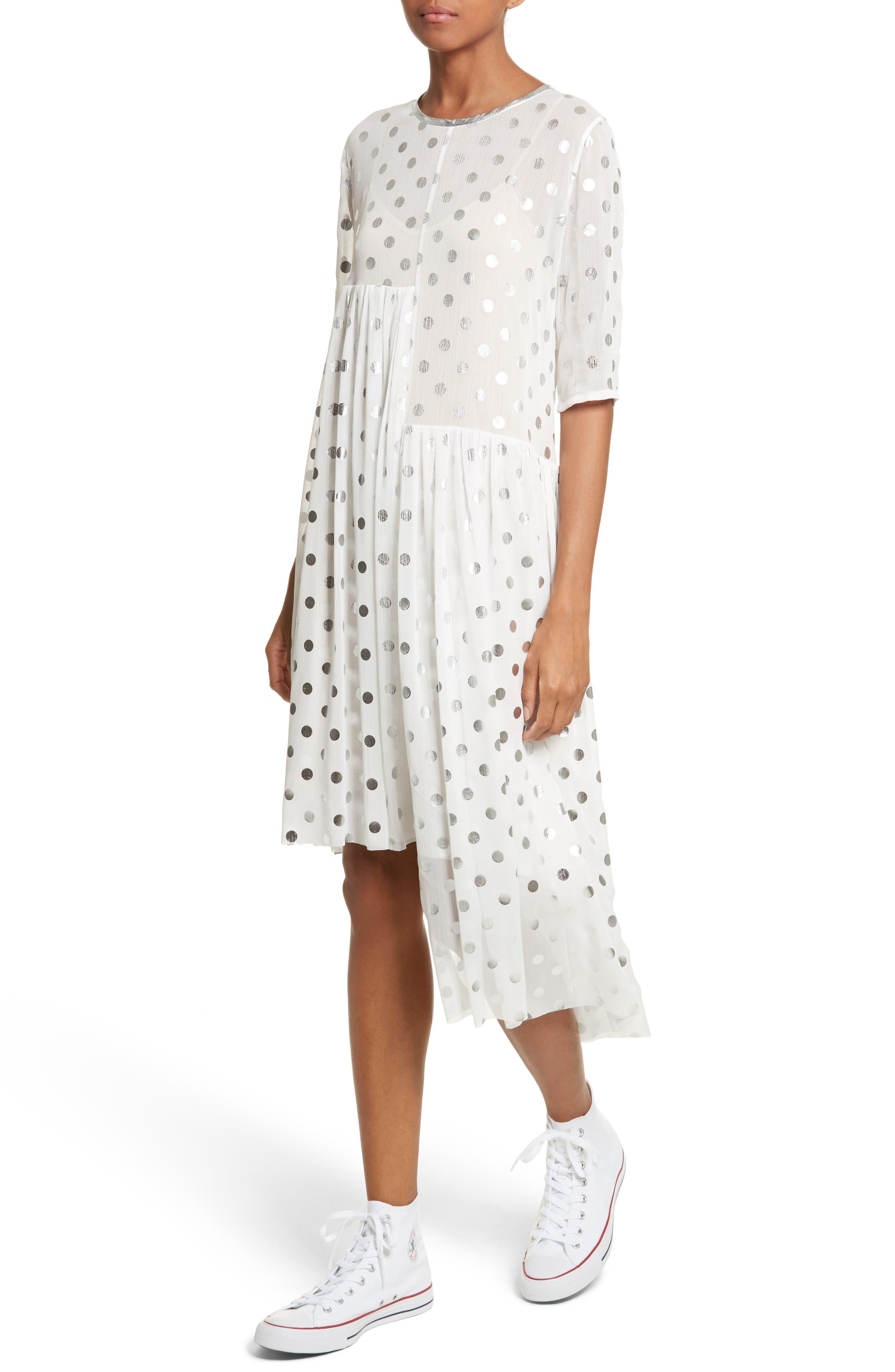 Asymmetric Gathered Short Sleeve Dress,                             Alternate thumbnail 4, color,                             110