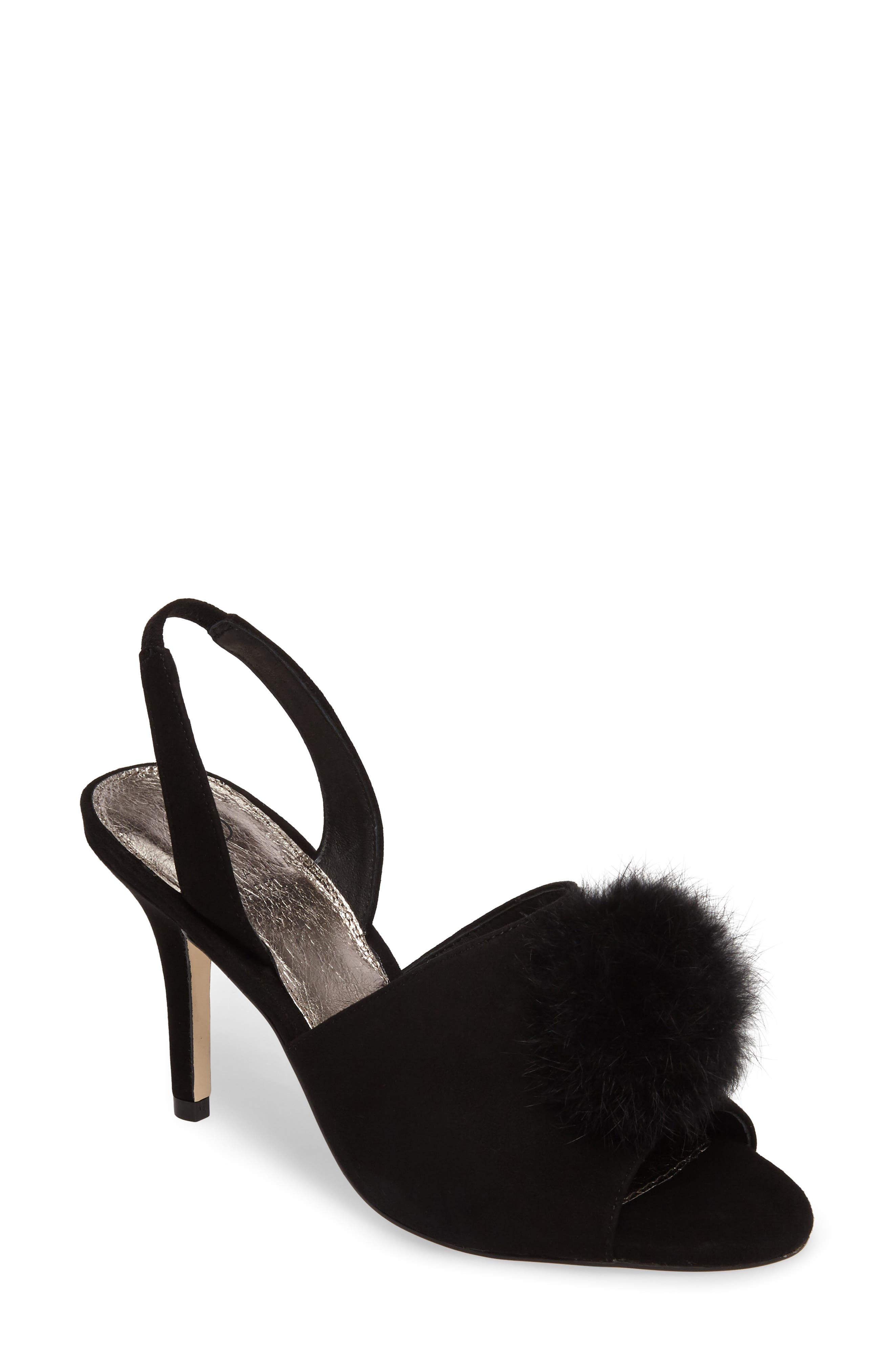 Alecia Genuine Rabbit Fur Pompom Sandal,                             Main thumbnail 1, color,
