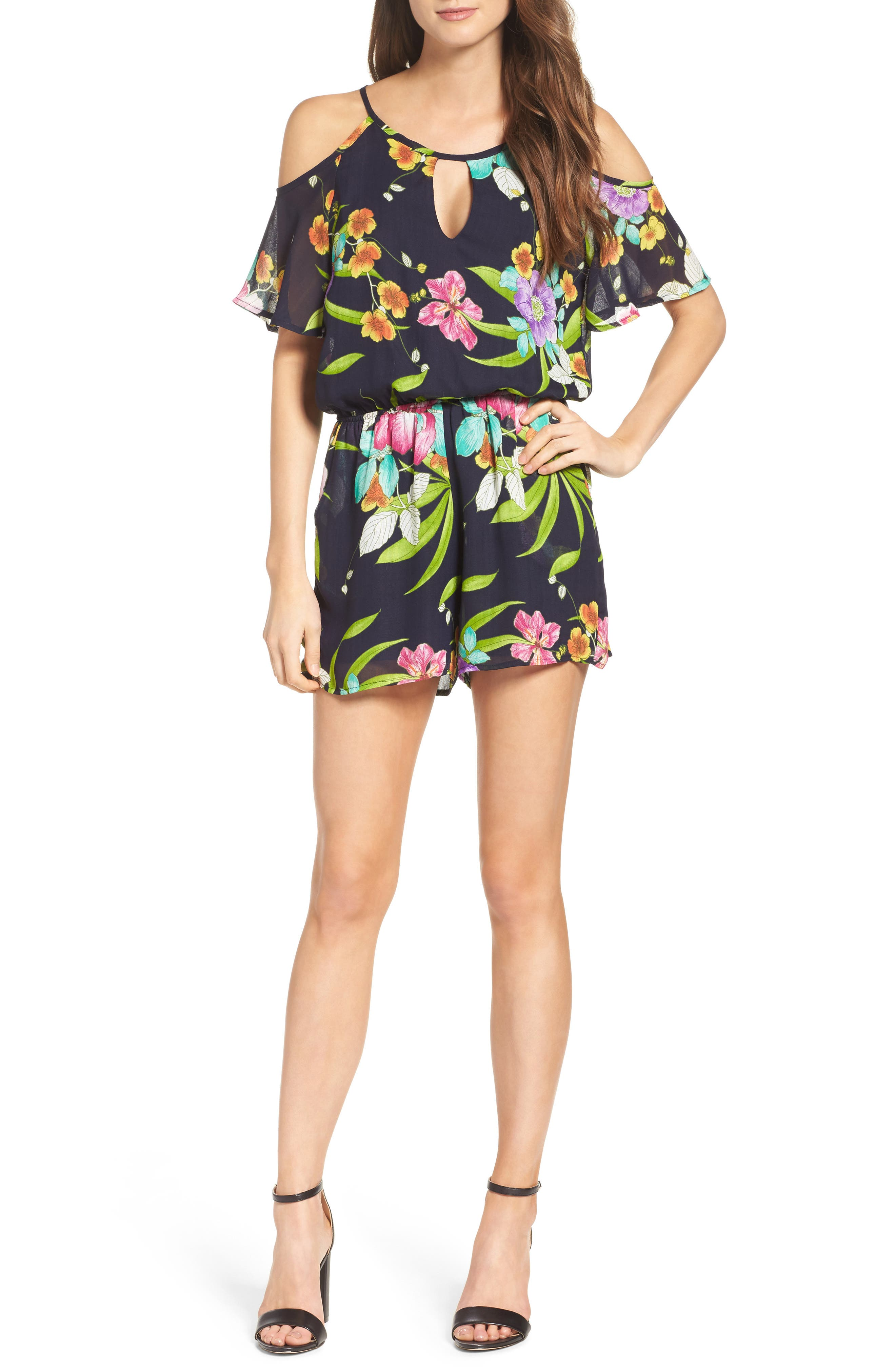 Cold Shoulder Romper,                             Alternate thumbnail 5, color,                             TAHITI
