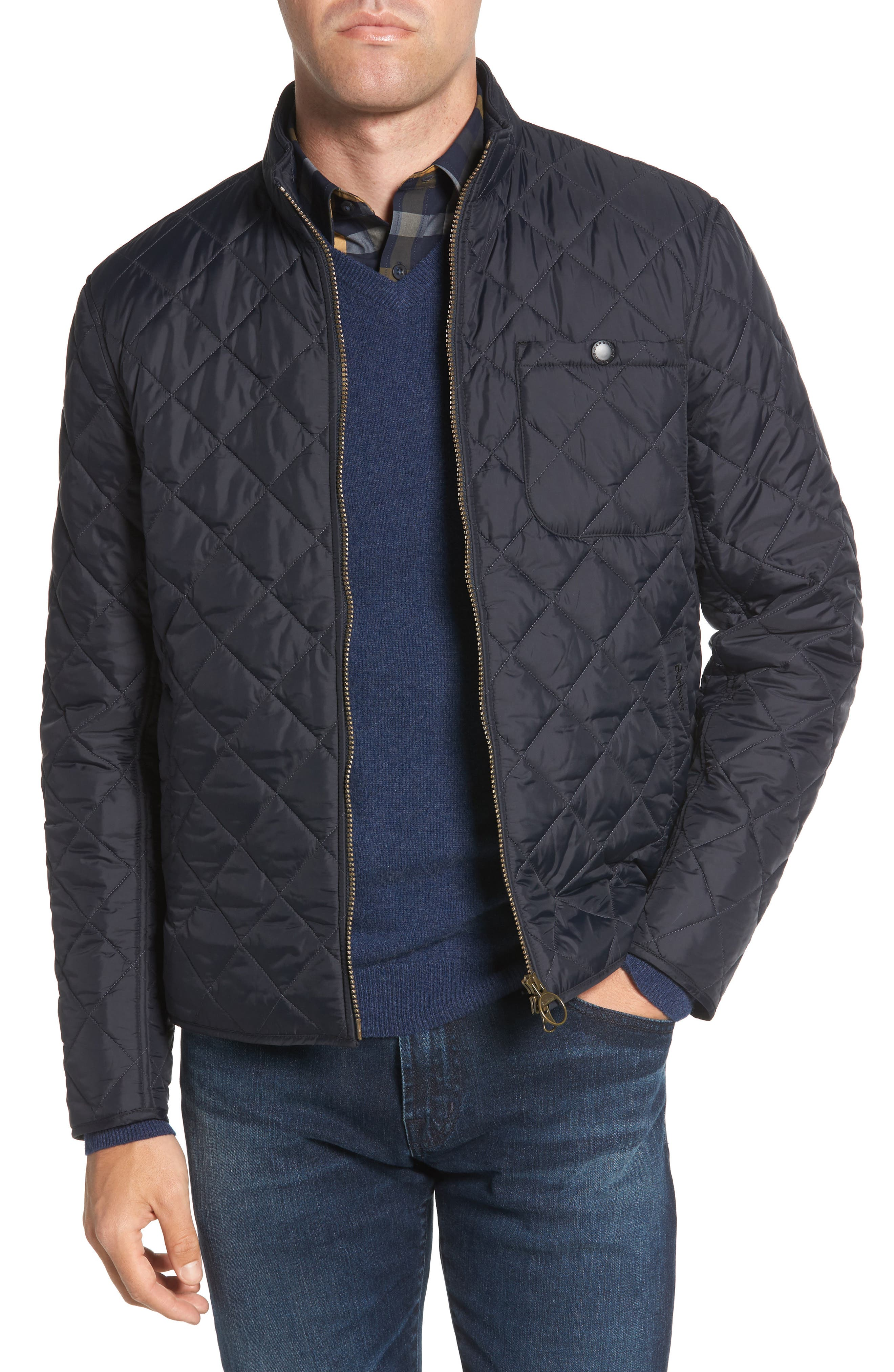 Pod Slim Fit Quilted Jacket,                             Main thumbnail 1, color,                             NAVY/ BLUE