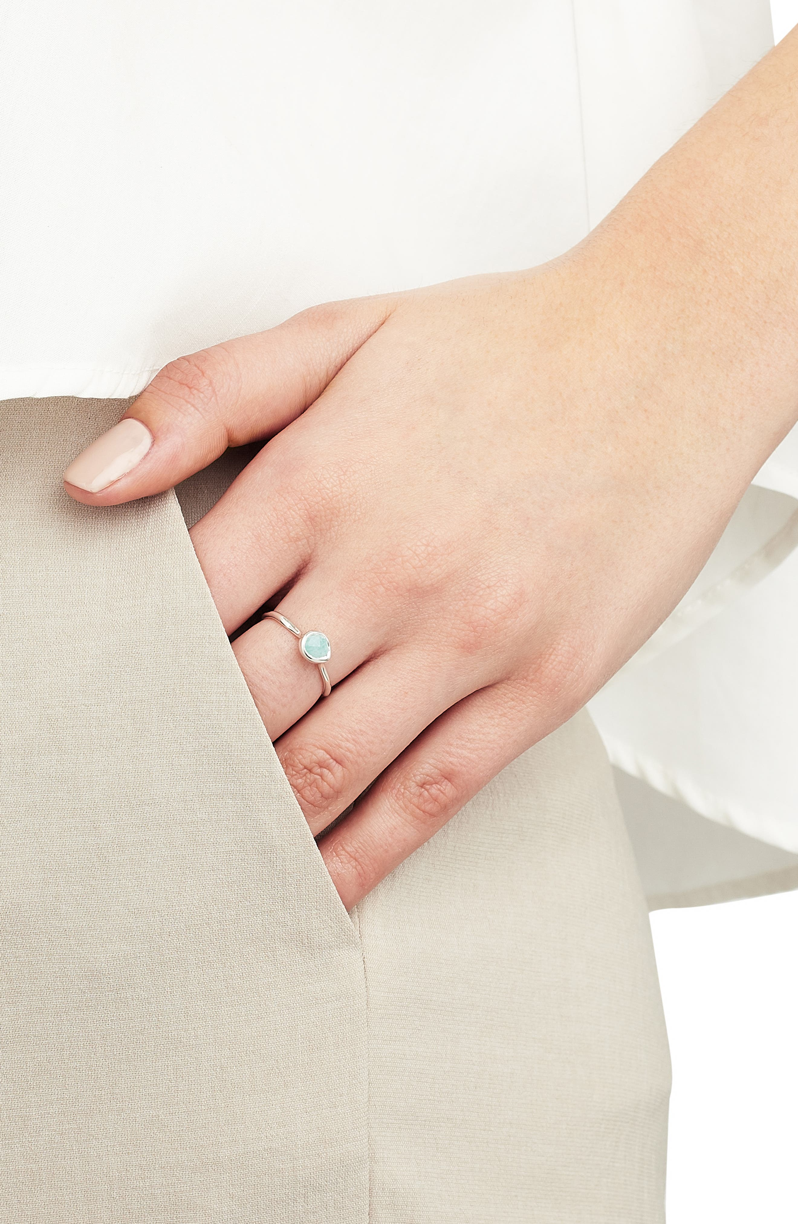 Siren Small Stacking Ring,                             Alternate thumbnail 2, color,                             SILVER/ AMAZONITE