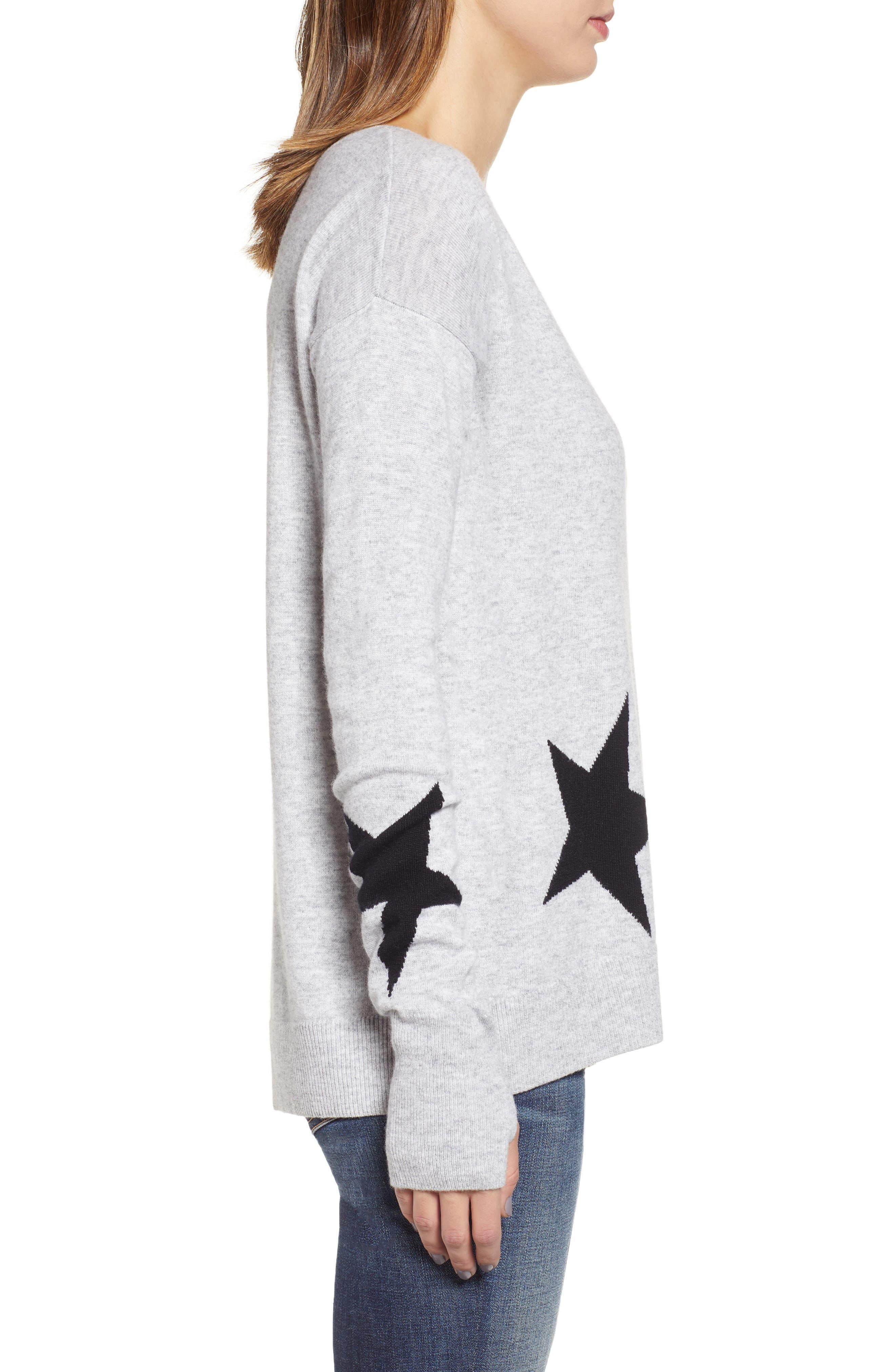 Star Intarsia V-Neck Sweater,                             Alternate thumbnail 3, color,                             HEATHER GREY