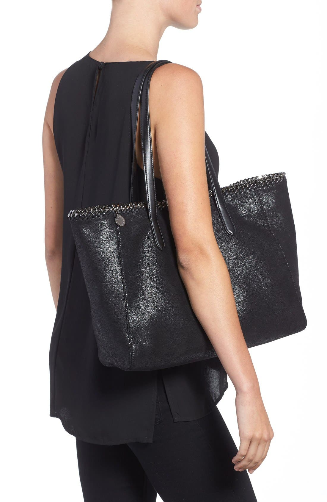 'Falabella - Shaggy Deer' Faux Leather Tote,                             Alternate thumbnail 3, color,                             001