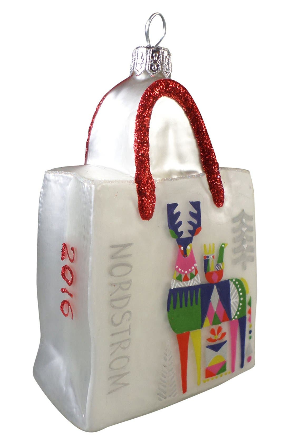 'Stag' Glass Shopping Bag Ornament, Main, color, 100