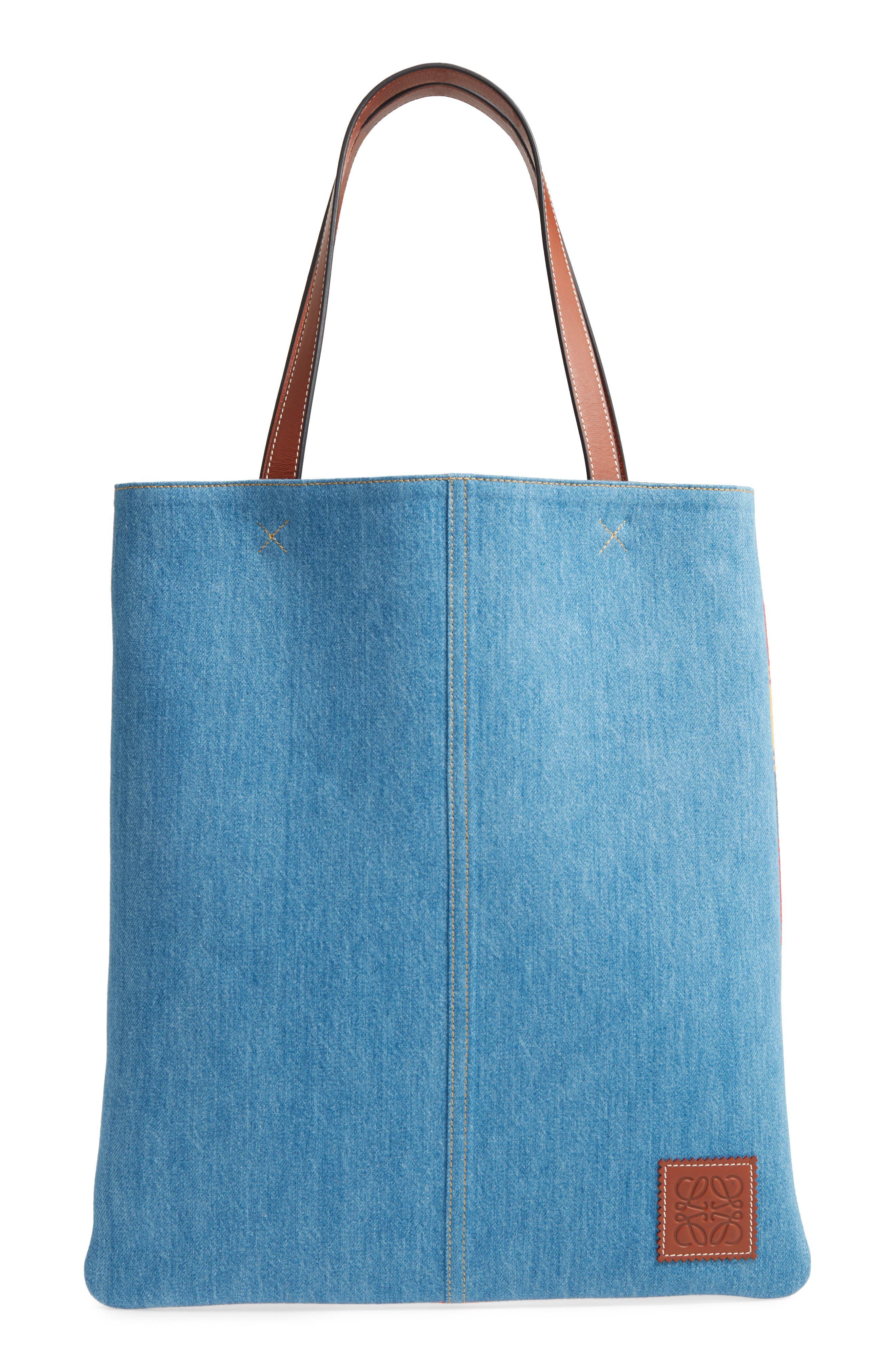 Stripe Denim Tote Bag,                         Main,                         color, DENIM/ TAN