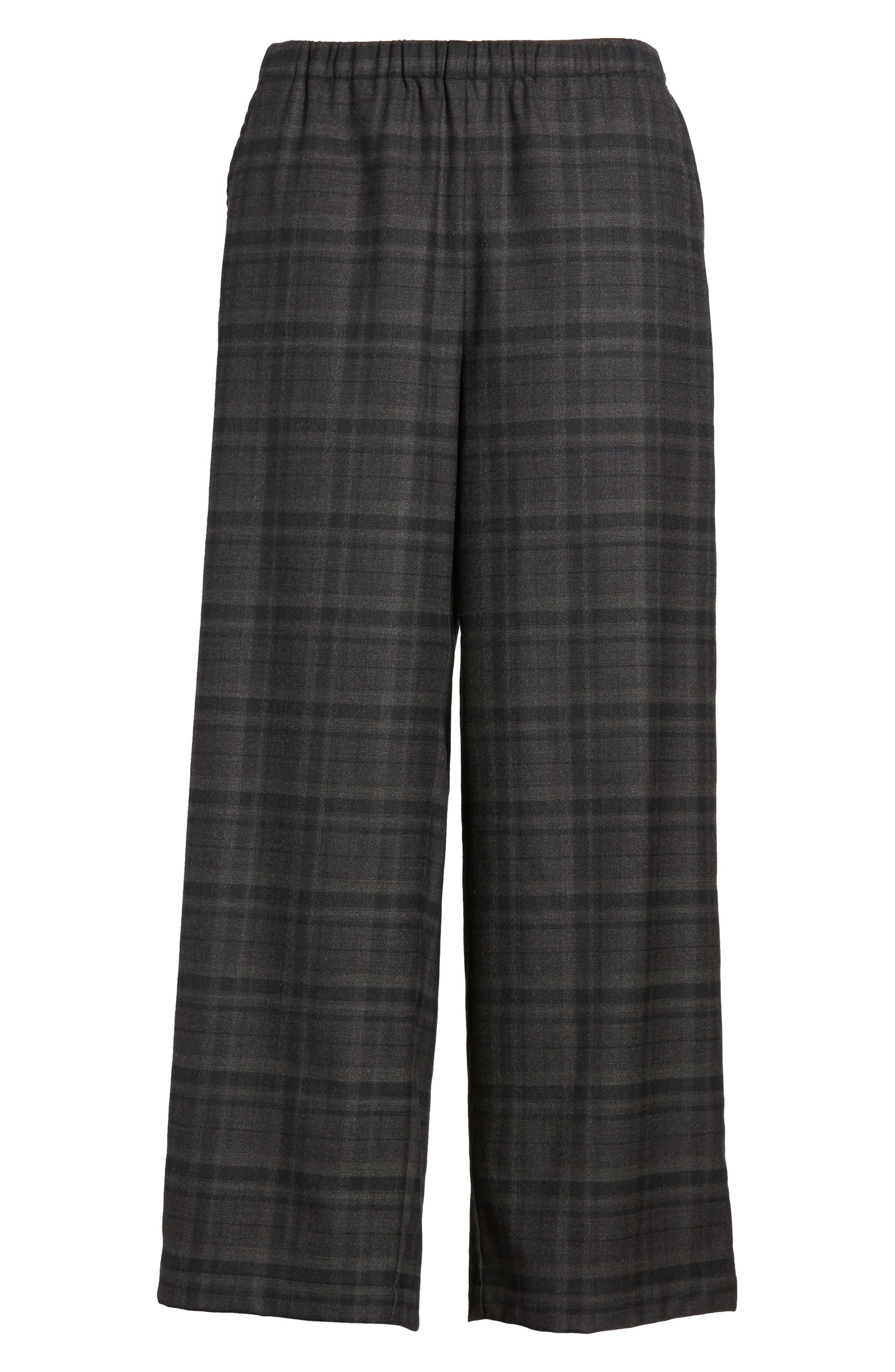 Wide Leg Plaid Crop Pants,                             Alternate thumbnail 6, color,                             021