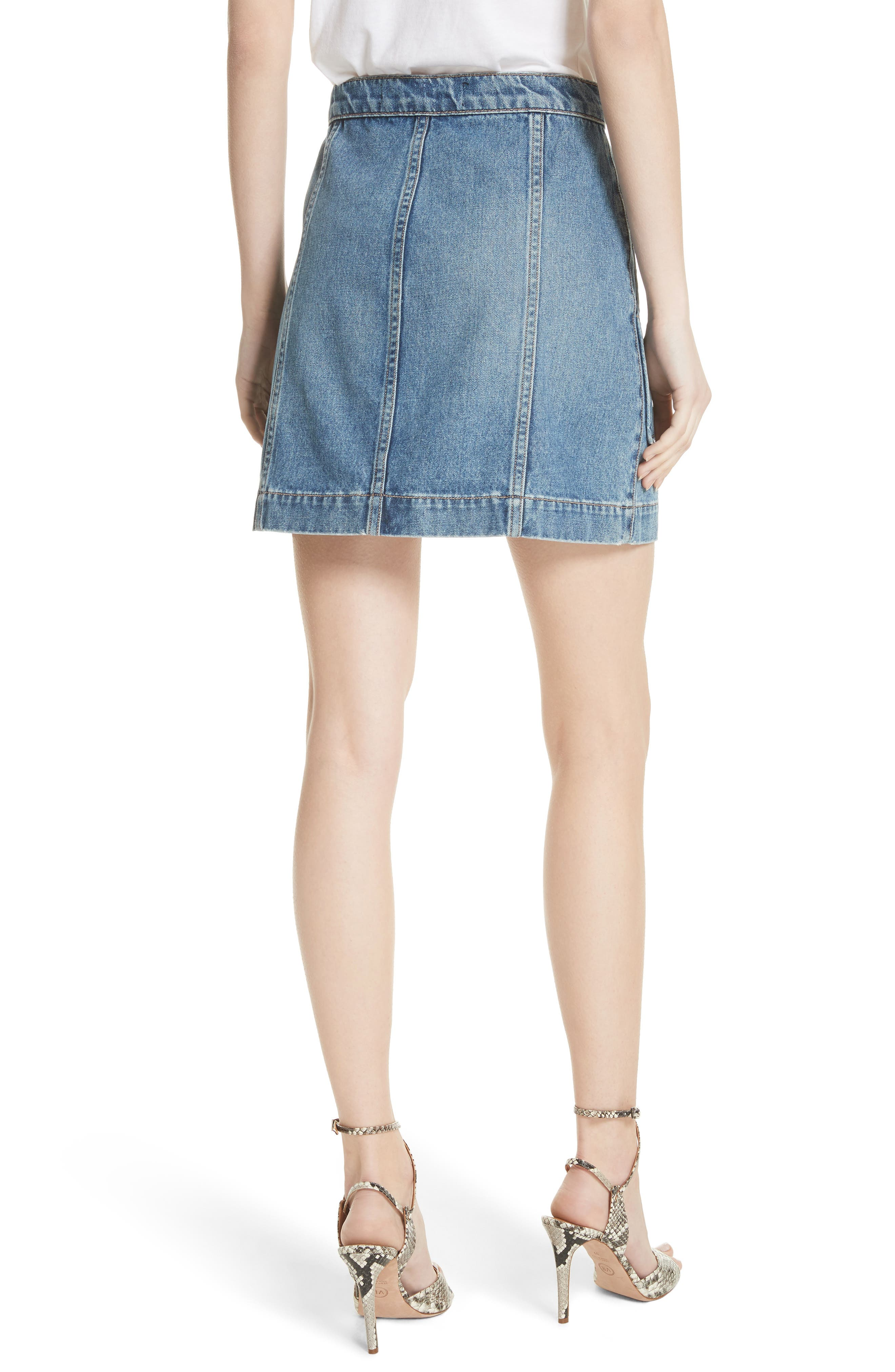 VERONICA BEARD,                             Getty Denim Skirt,                             Alternate thumbnail 2, color,                             499