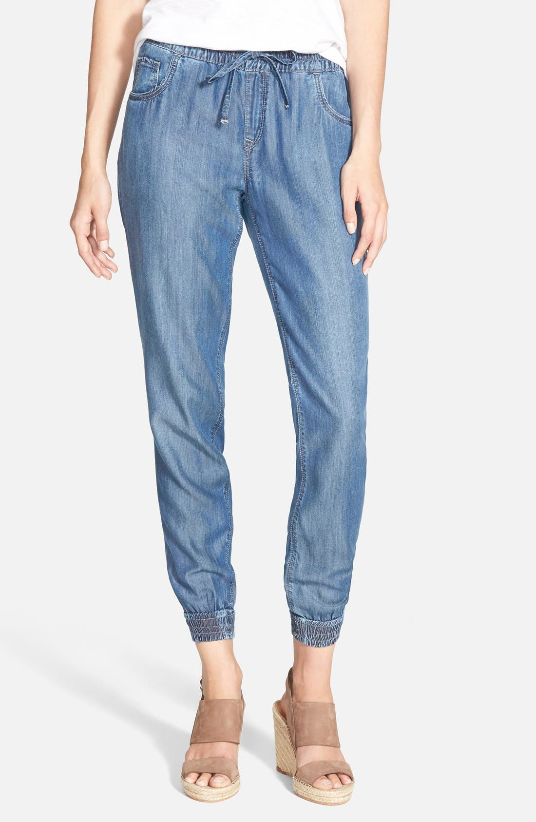 'Aubrey' Drawstring Denim Pants,                             Main thumbnail 1, color,                             420