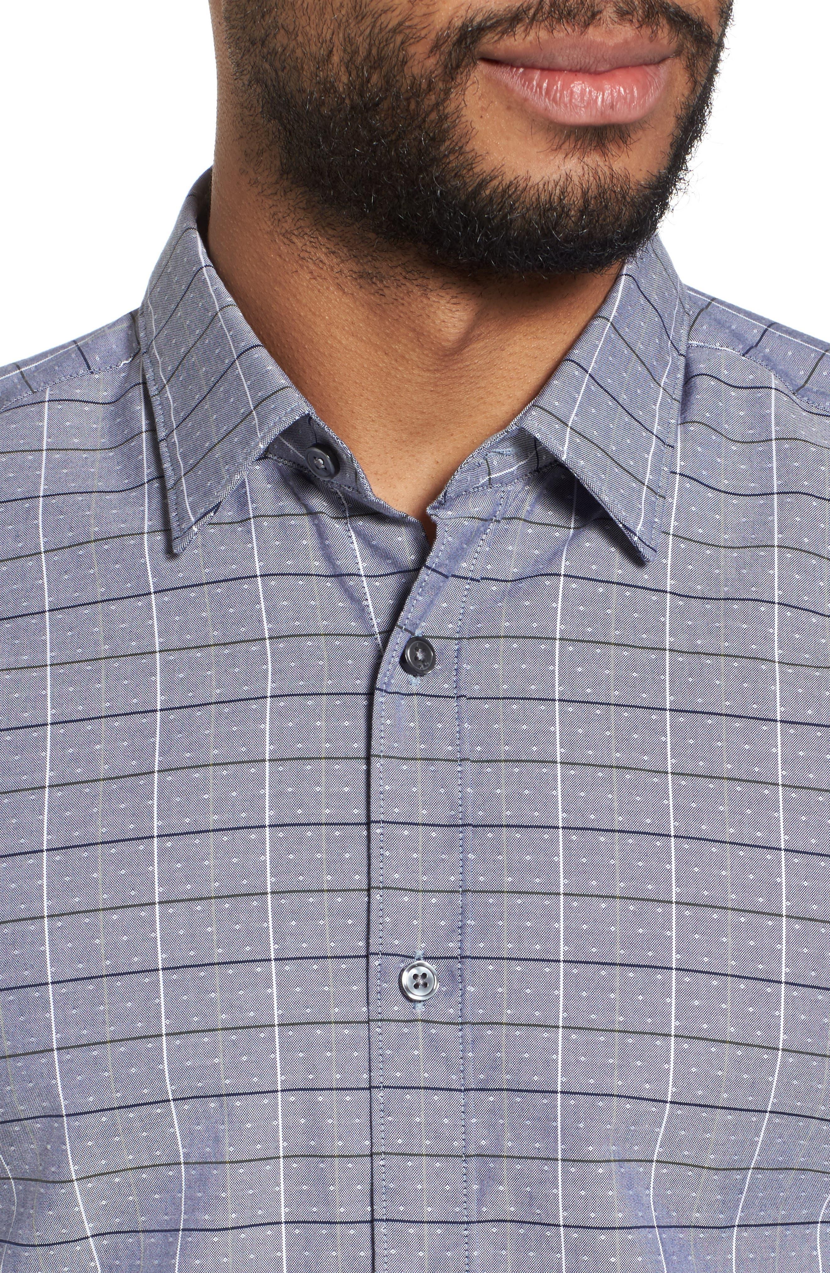 Ronni Slim Fit Check Sport Shirt,                             Alternate thumbnail 4, color,                             400
