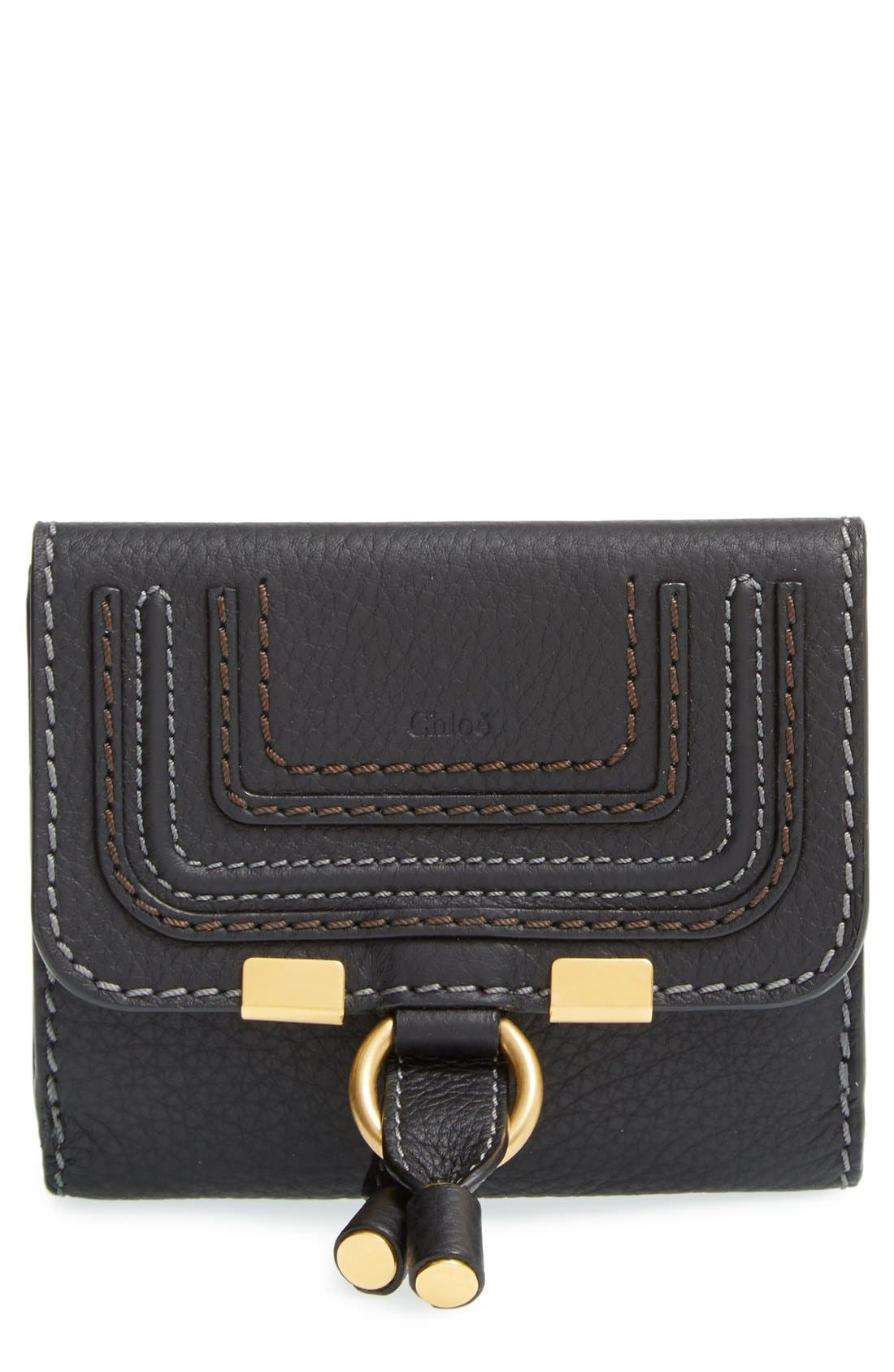 CHLOÉ 'Marcie' French Wallet, Main, color, BLACK