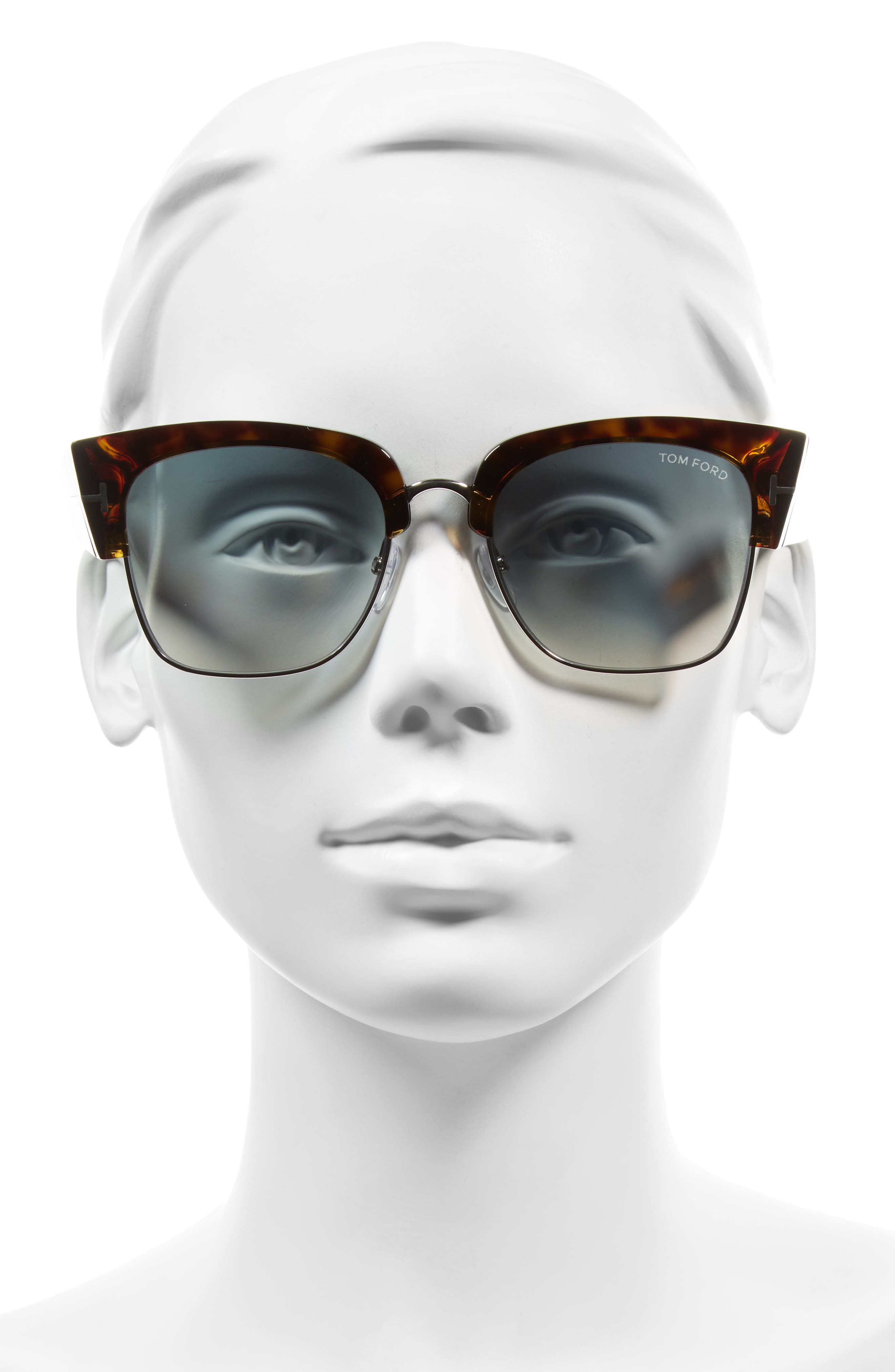 Dakota 55mm Gradient Square Sunglasses,                             Alternate thumbnail 2, color,                             DARK HAVANA/ BLUE MIRROR
