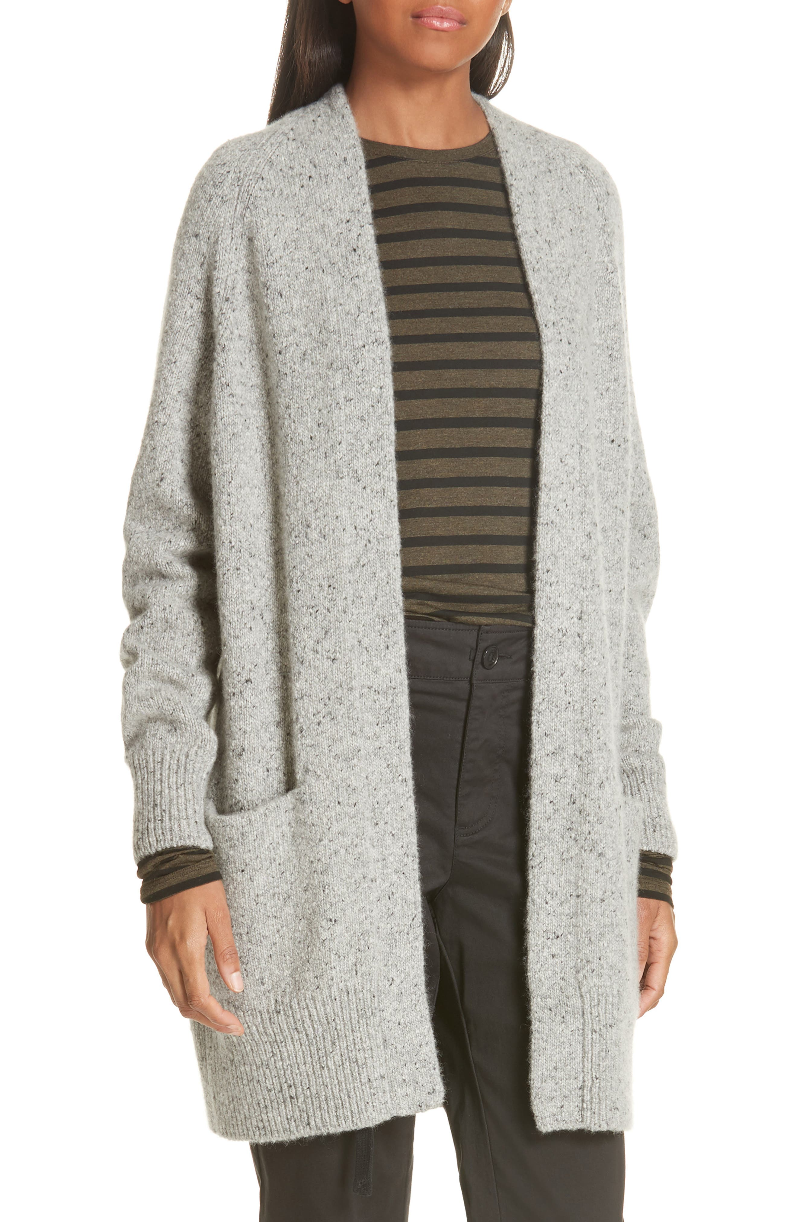Cashmere Raglan Sleeve Open Front Cardigan,                             Main thumbnail 1, color,                             SOFT GREY