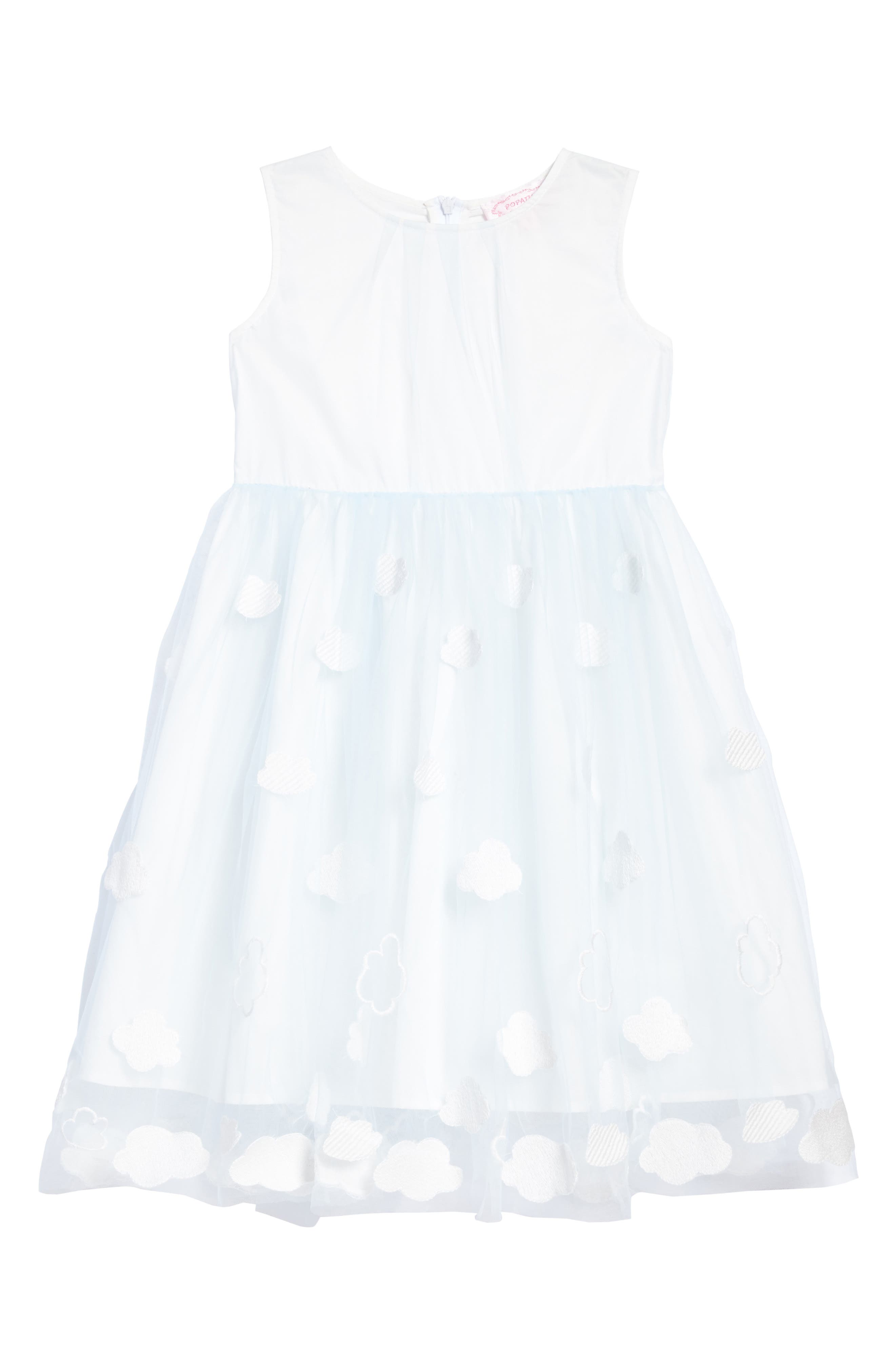 Embroidered Cloud Dress,                         Main,                         color, BLUE