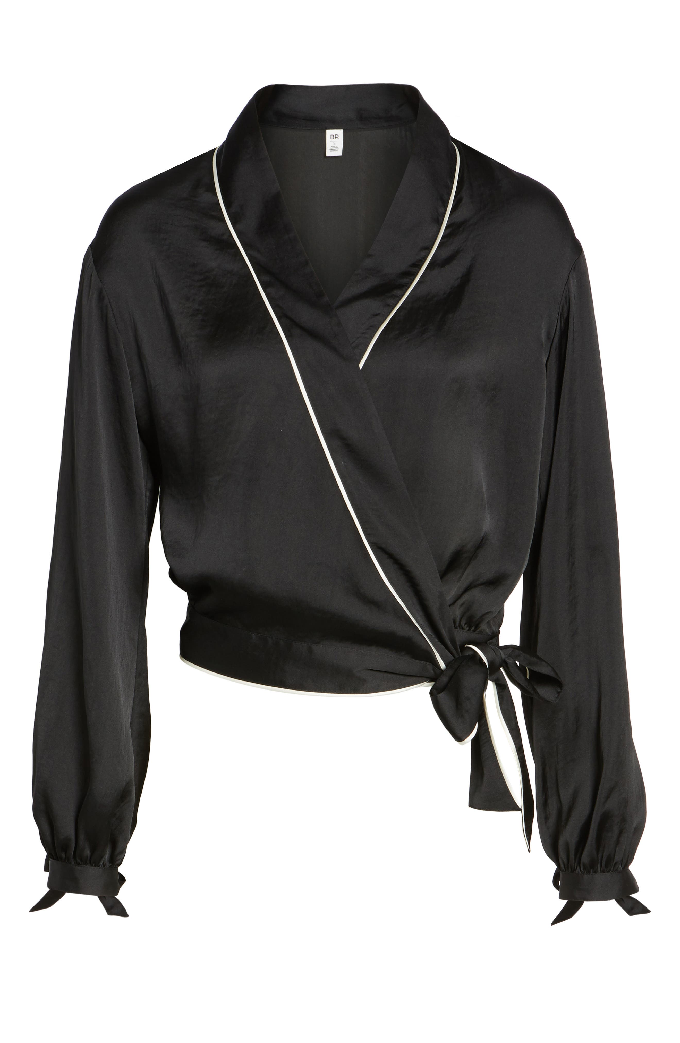 Piped Satin Wrap Top,                             Alternate thumbnail 6, color,                             001