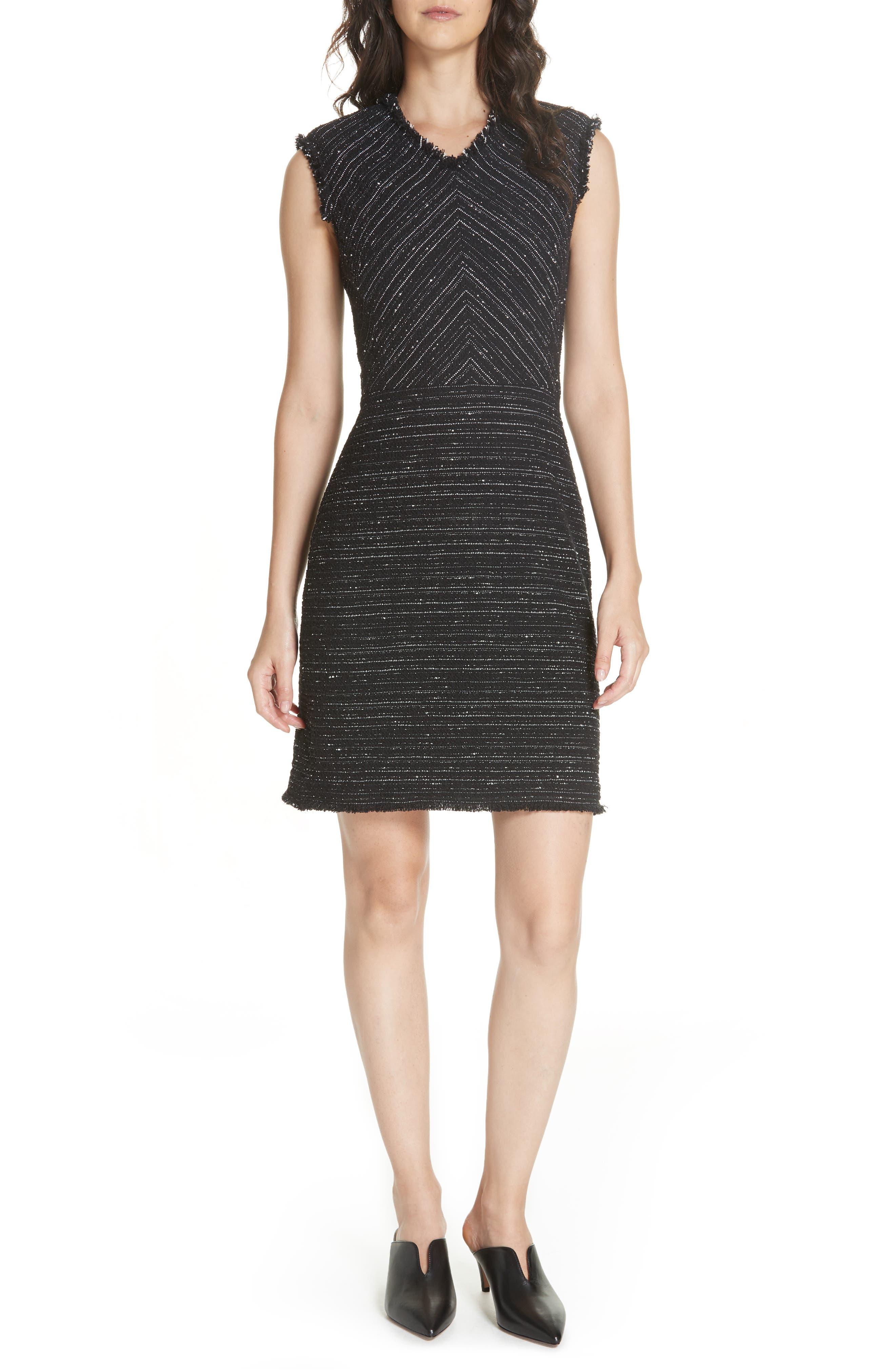 Stretch Cotton Blend Tweed Sheath Dress,                             Main thumbnail 1, color,                             BLACK COMBO