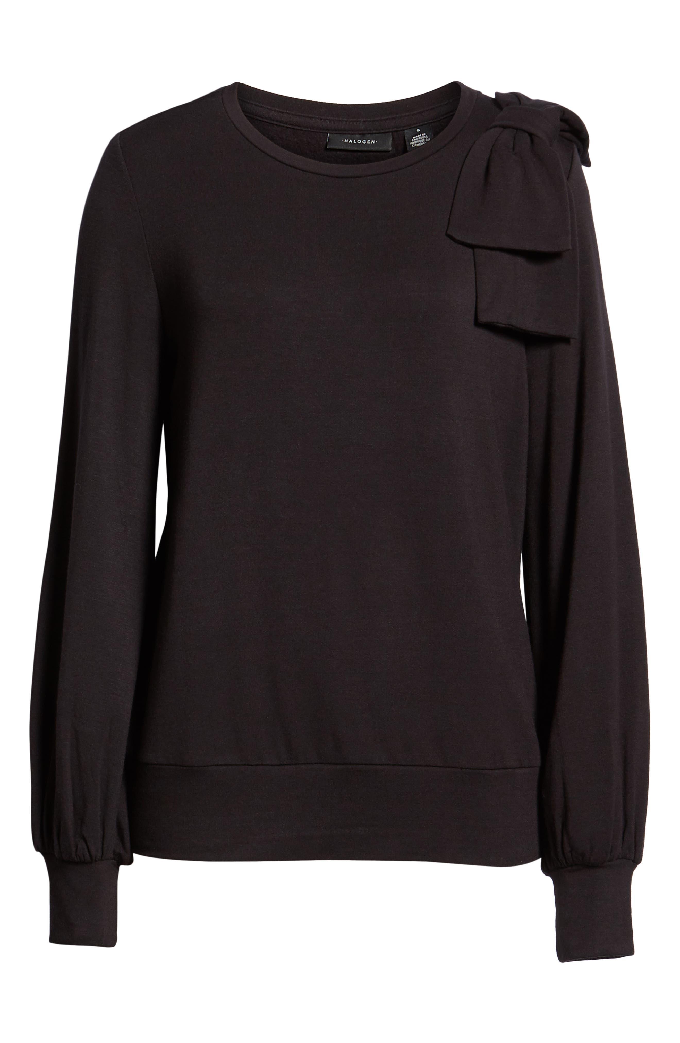 Bow Trim Sweatshirt,                             Alternate thumbnail 6, color,                             001