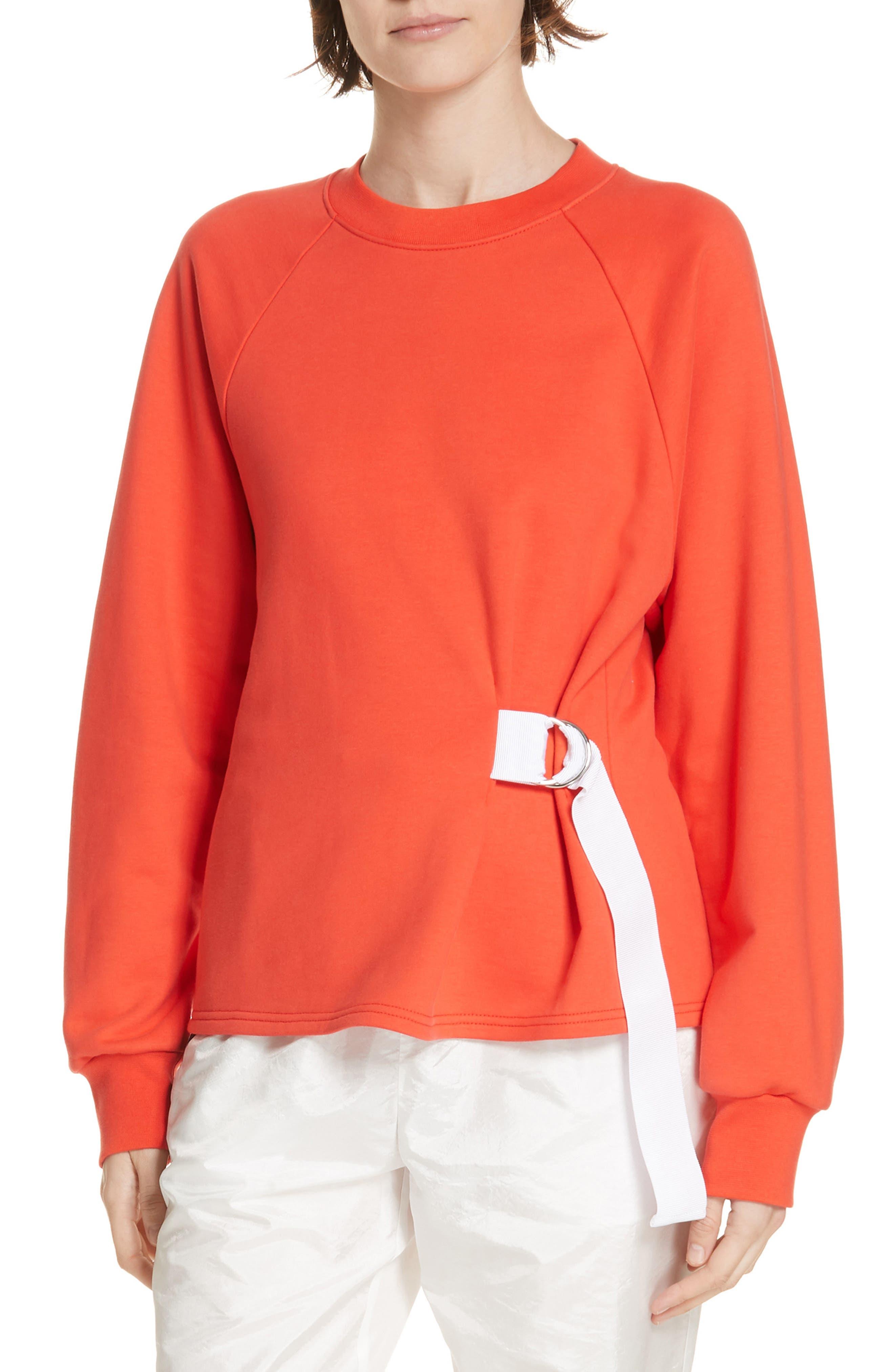 Tibi Belted Sweatshirt, Orange