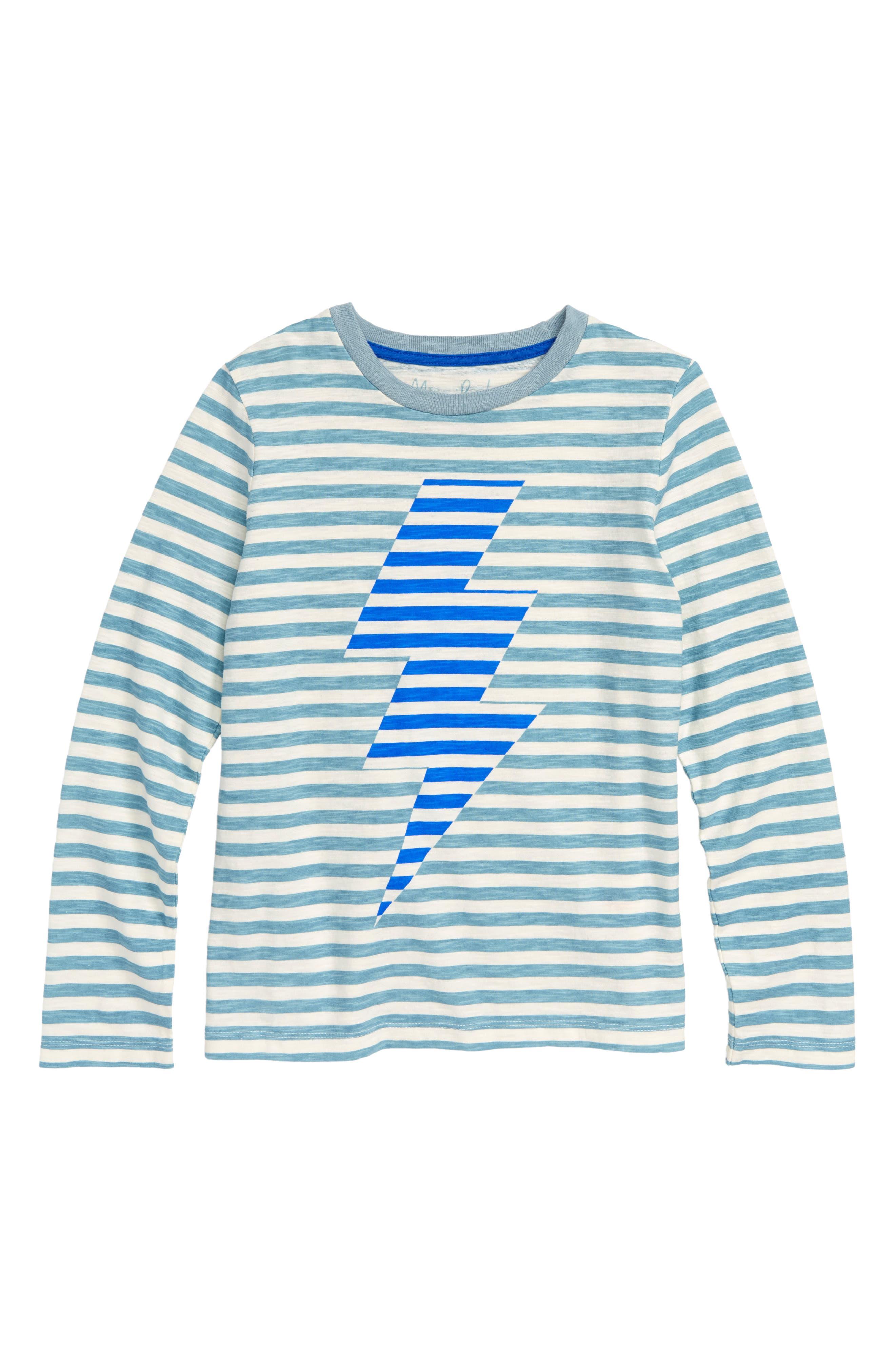 Stripy Bolt Icon T-Shirt,                         Main,                         color, DOLPHIN BLUE/ ECRU