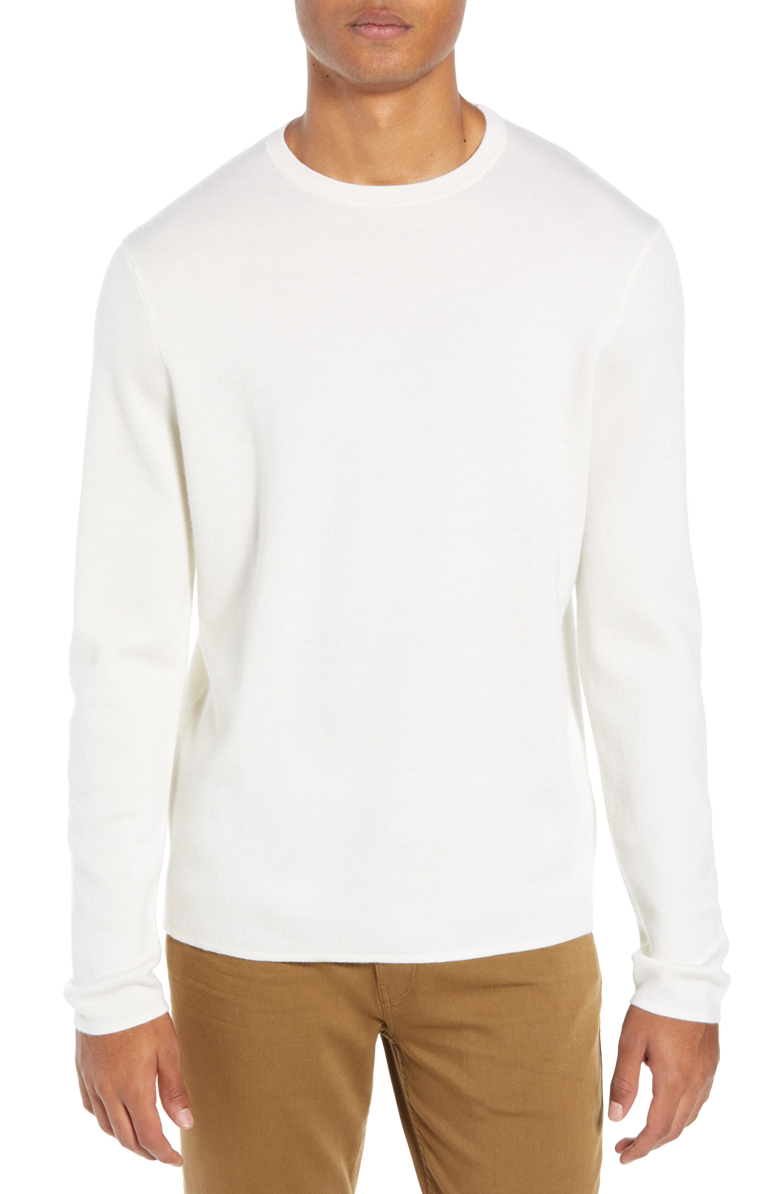 Crewneck Cashmere Sweater,                         Main,                         color, IVORY EGRET