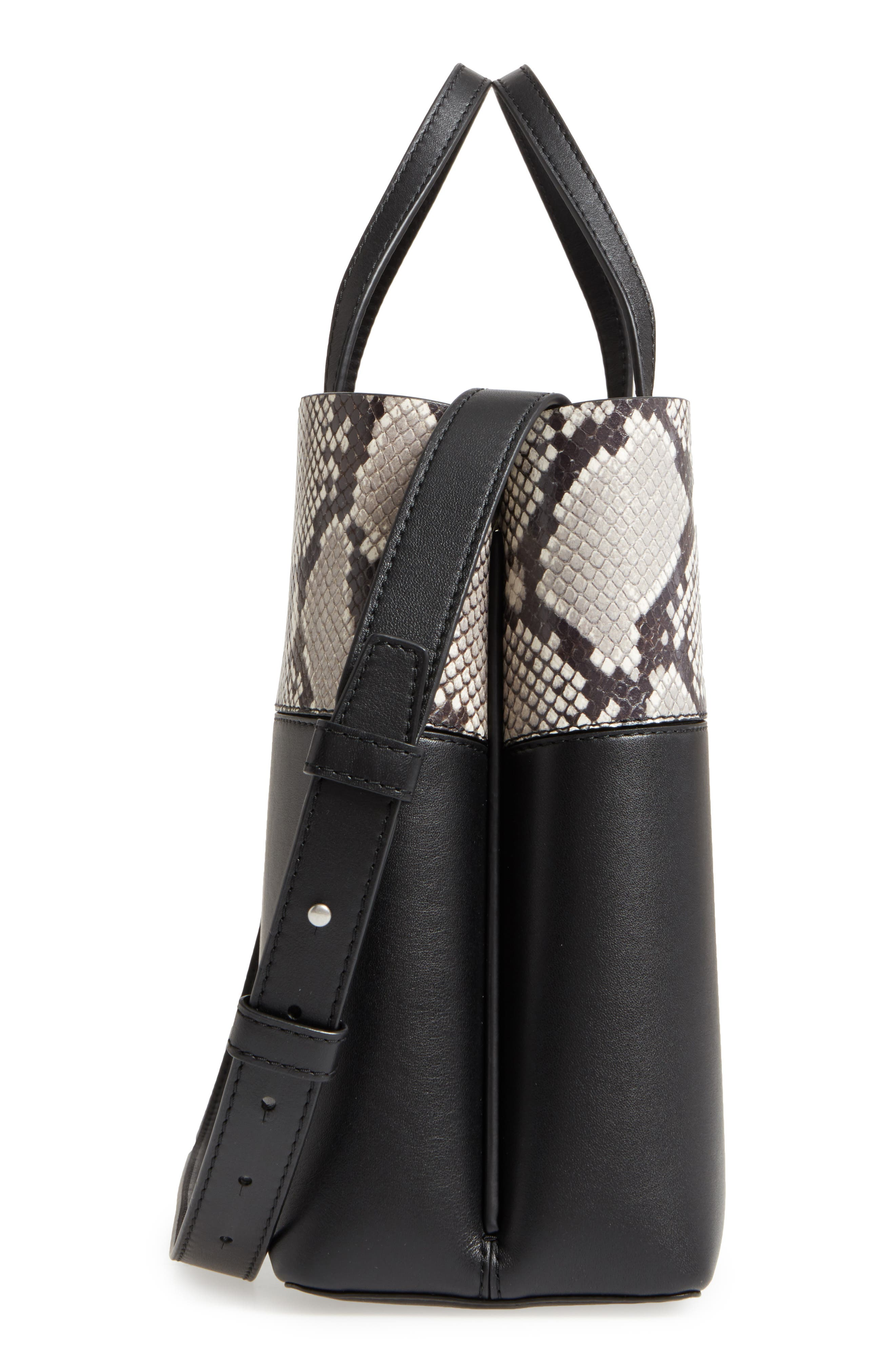 Block-T Snake Embossed Leather Tote,                             Alternate thumbnail 5, color,                             001